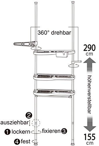 badregal teleskopregal wc bad waschmaschine regal 3 ablagen new bz4109 bz4110 ebay. Black Bedroom Furniture Sets. Home Design Ideas