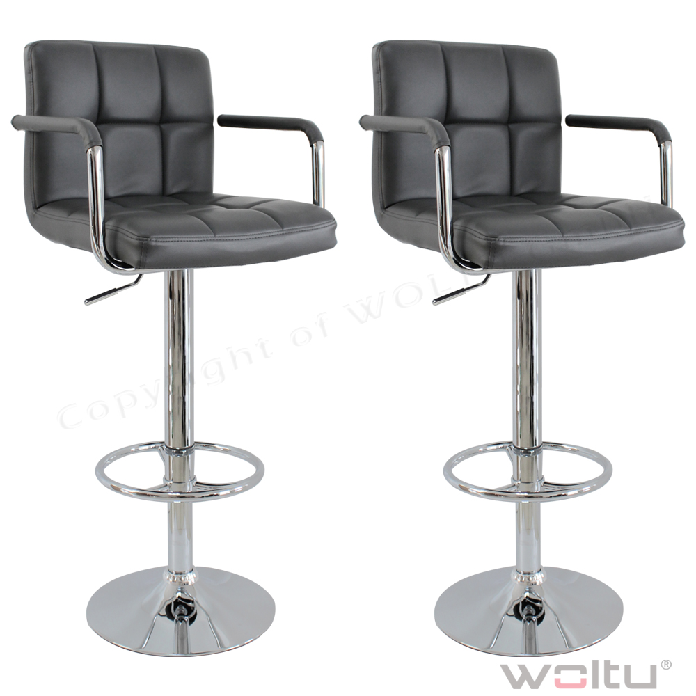 1 2 tabouret de bar en cuir synth tique chaise cuisine en plastique gris f013 ebay for Chaise de bar en cuir