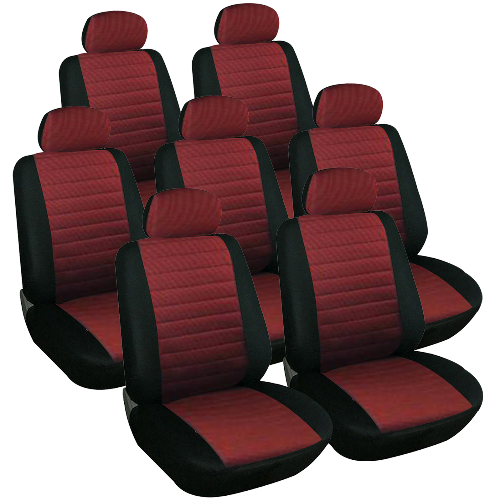 housse de si ge universelle 7 pi ce en polyester couvre si ge noir rouge f7233 7 ebay. Black Bedroom Furniture Sets. Home Design Ideas