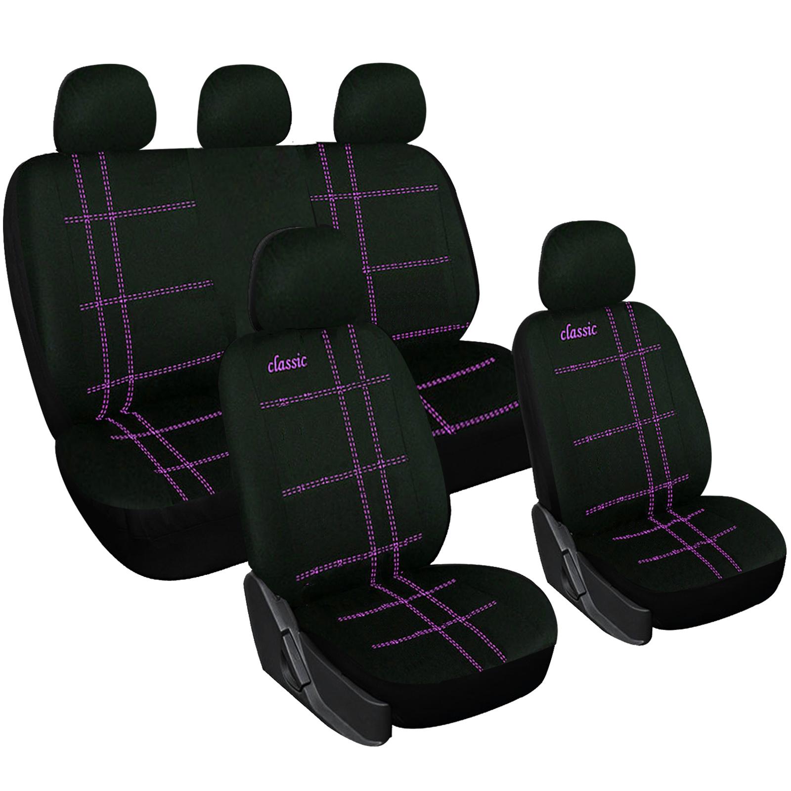 auto sitzbez ge sitzbezug schoner f r pkw ohne seitenairbag schwarz violett 7274 ebay. Black Bedroom Furniture Sets. Home Design Ideas
