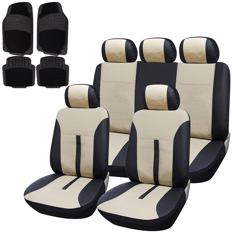 auto sitzbez ge leder schonbez ge mit gummi fu matten universal beige 7288 7115 ebay. Black Bedroom Furniture Sets. Home Design Ideas