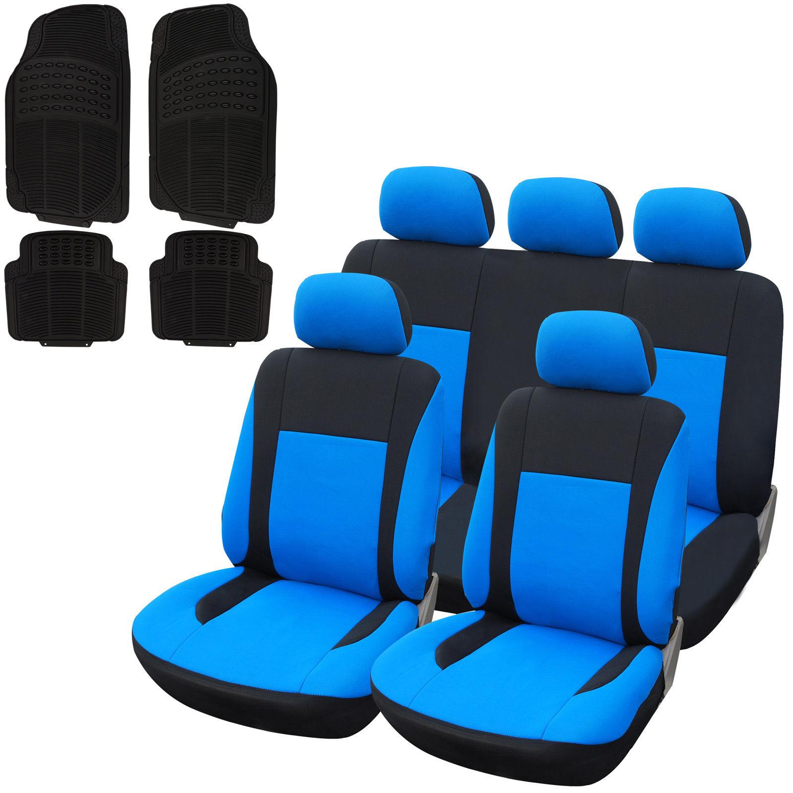 auto sitzbezug sitzbez ge fu matten aus gummi universal schwarz blau 7320 7145 ebay. Black Bedroom Furniture Sets. Home Design Ideas