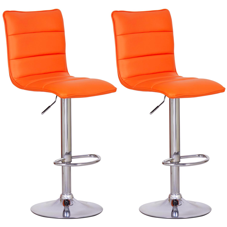 Barhocker tresenhocker 2 x stuhl gepolstert kunstleder for Barhocker orange