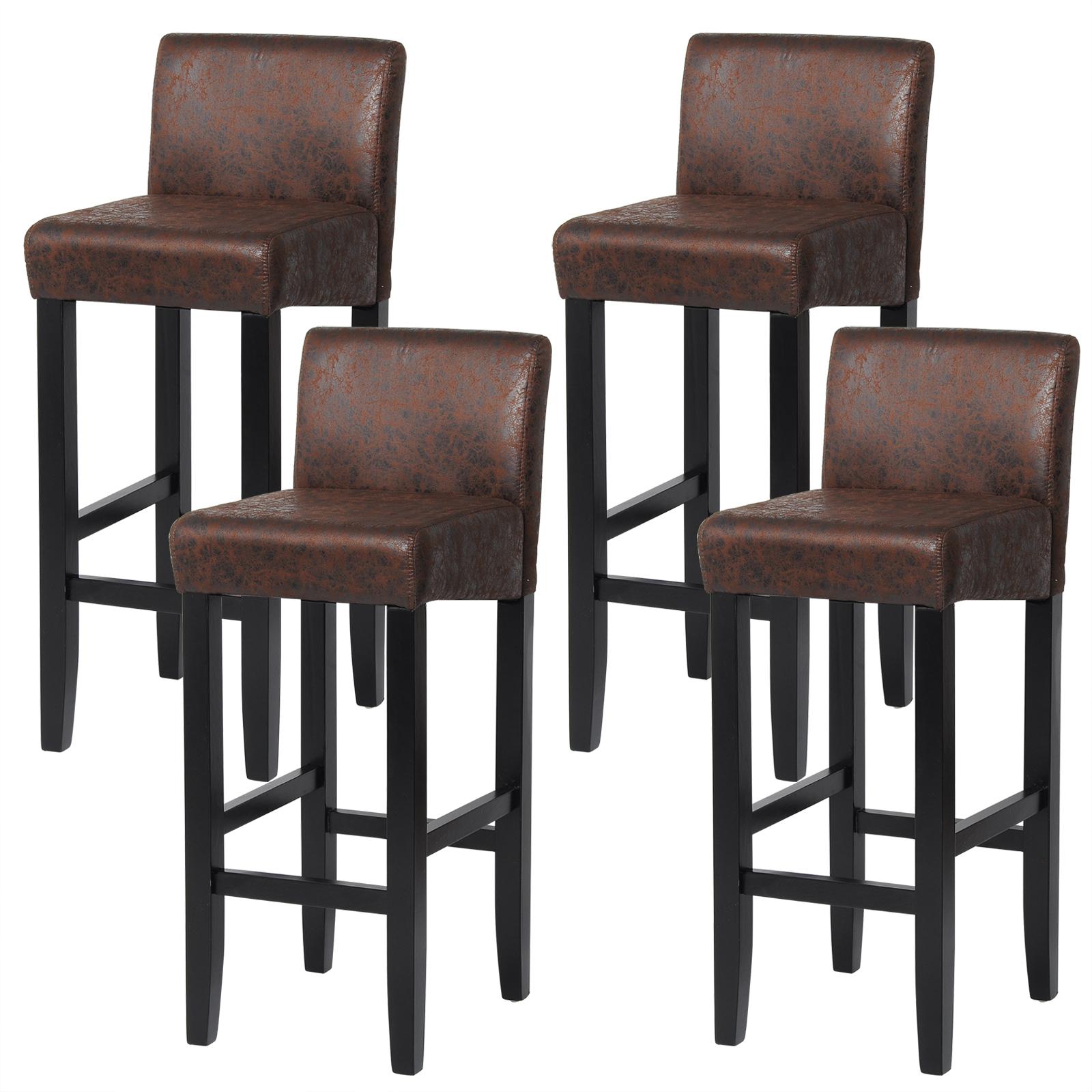barhocker bistrohocker 4 x barst hle antiklederoptik holz. Black Bedroom Furniture Sets. Home Design Ideas