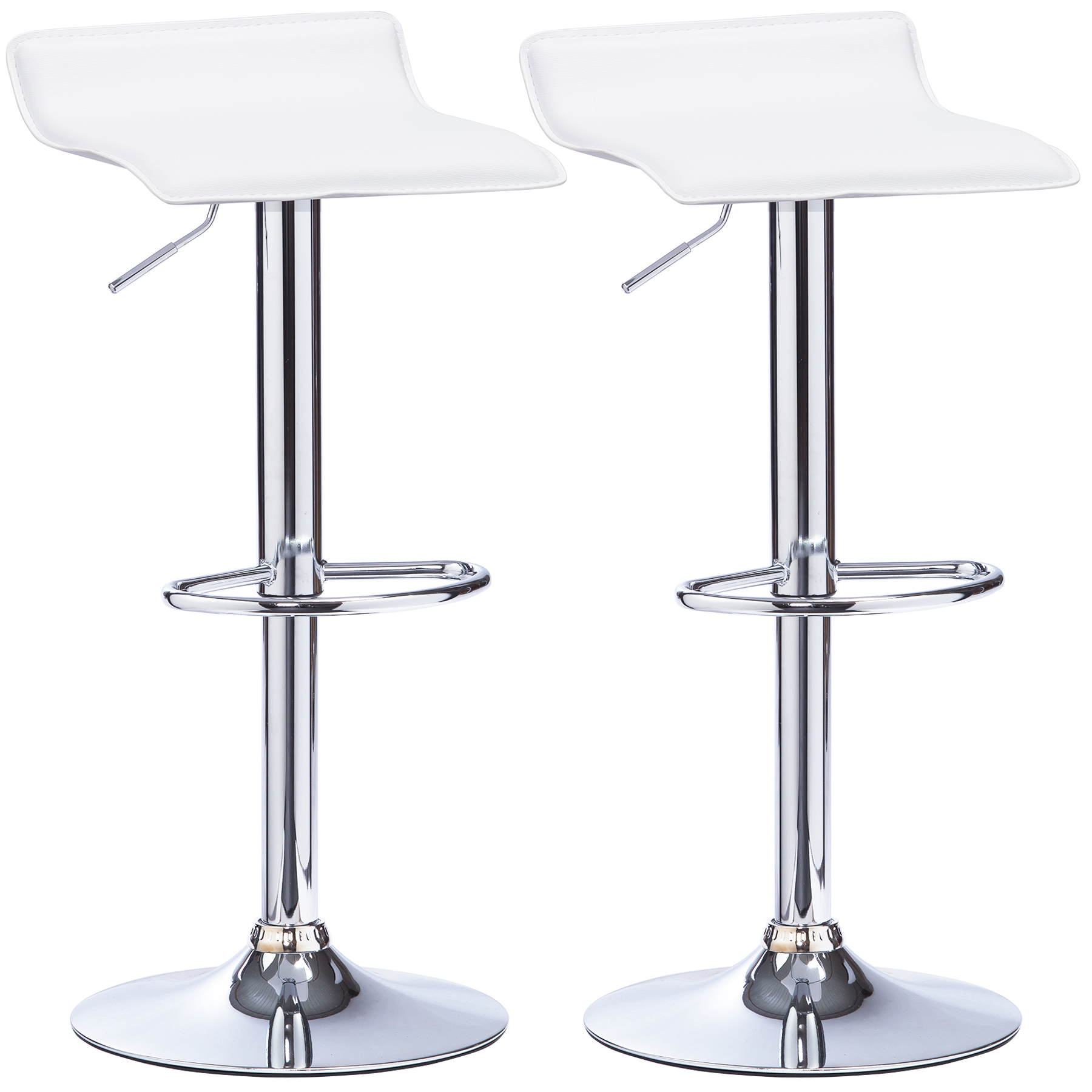 1 2 X Bar Stools Faux Leather Kitchen Chrome Stool