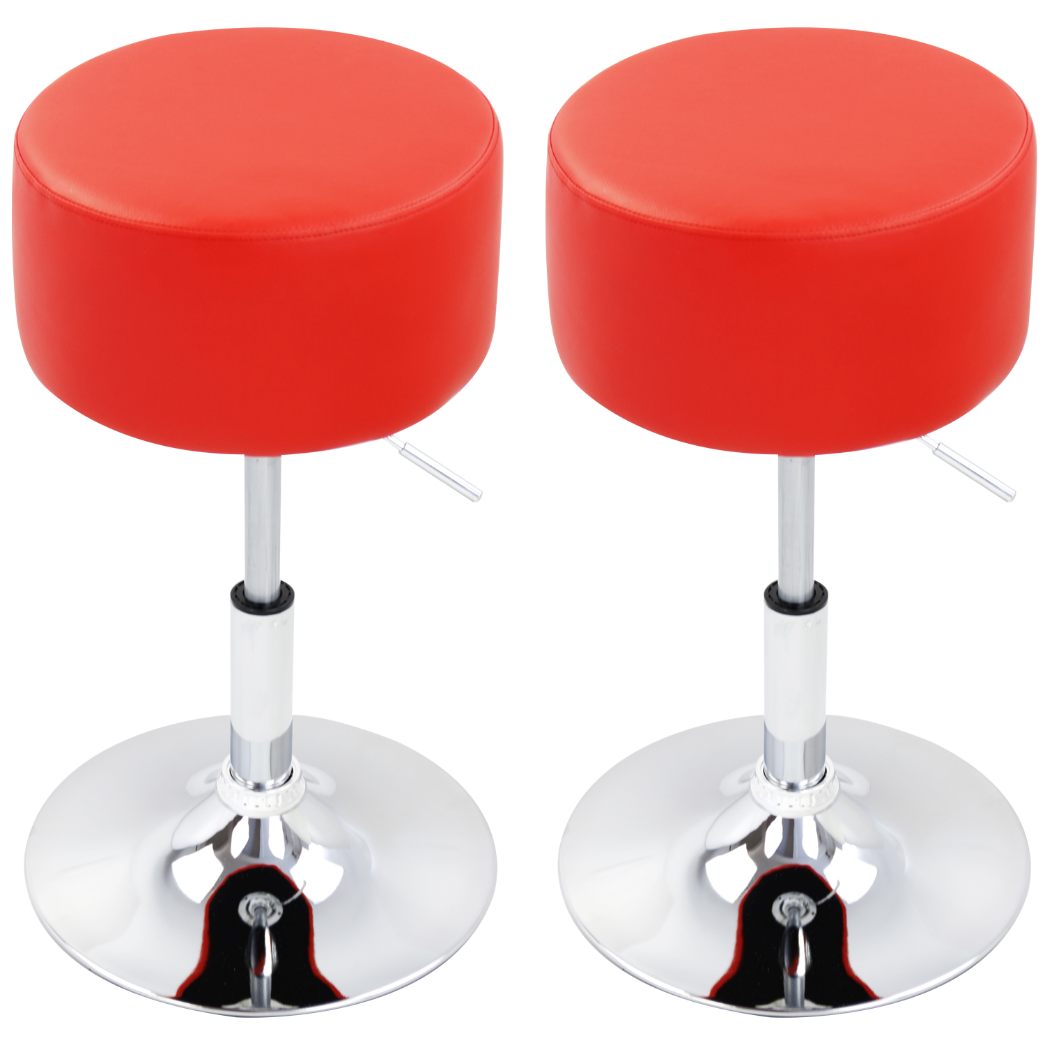 Bar Stools Set Of 2 Breakfast Kitchen Swivel Stool Chairs Faux Leather Red U049
