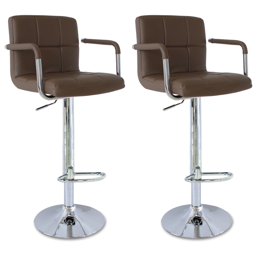 Faux Leather Bar Stools Set Of 2 Kitchen Breakfast Bar Stool Stools Chair U002 Ebay