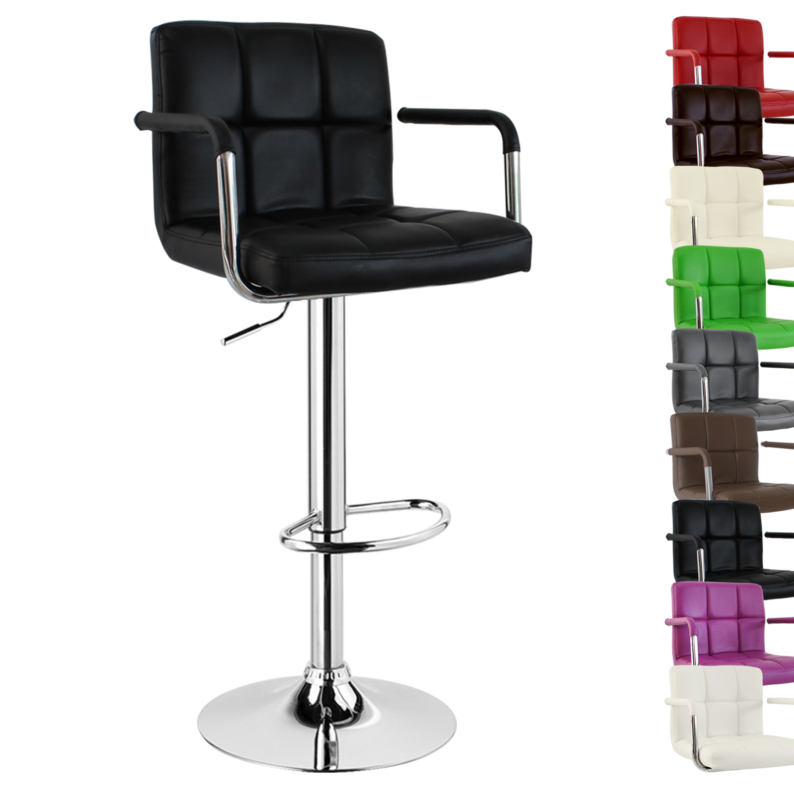 1 X Bar Stool Faux Leather With Arm And Back Swivel