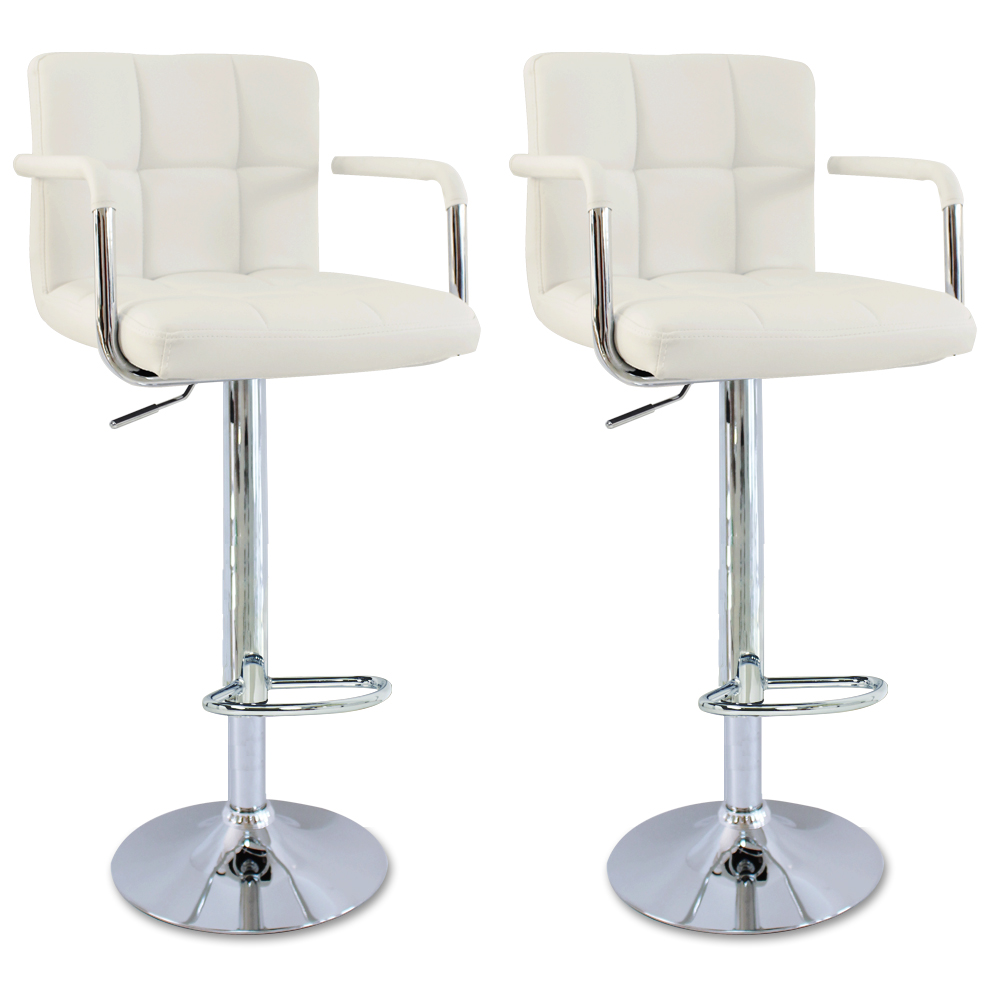 1 2 x bar stools faux leather kitchen chrome stool for White breakfast bar stools
