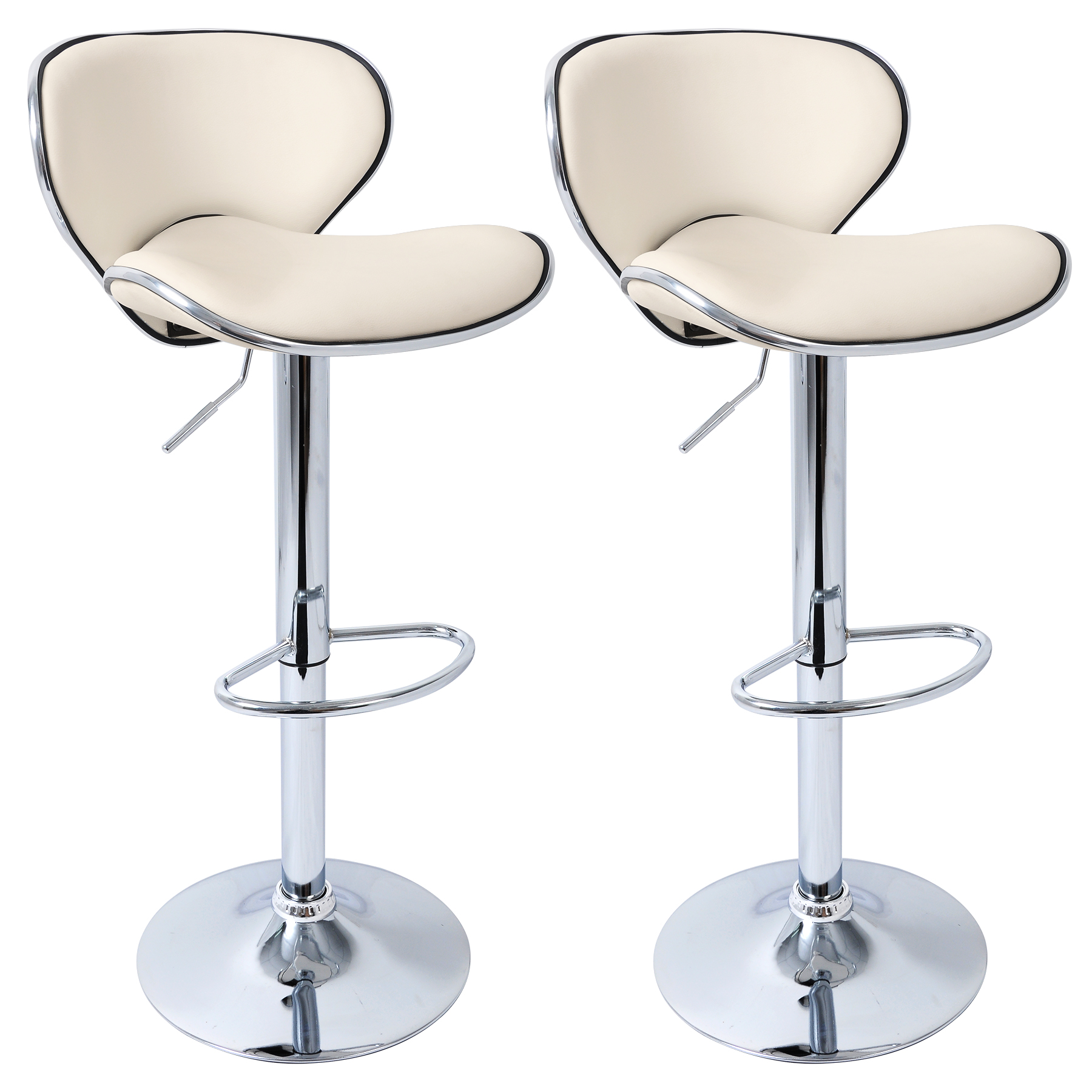 2 X Bar Stools Kitchen Chair Swivel Breakfast Stool Chrome Barstools Cream U021 Ebay
