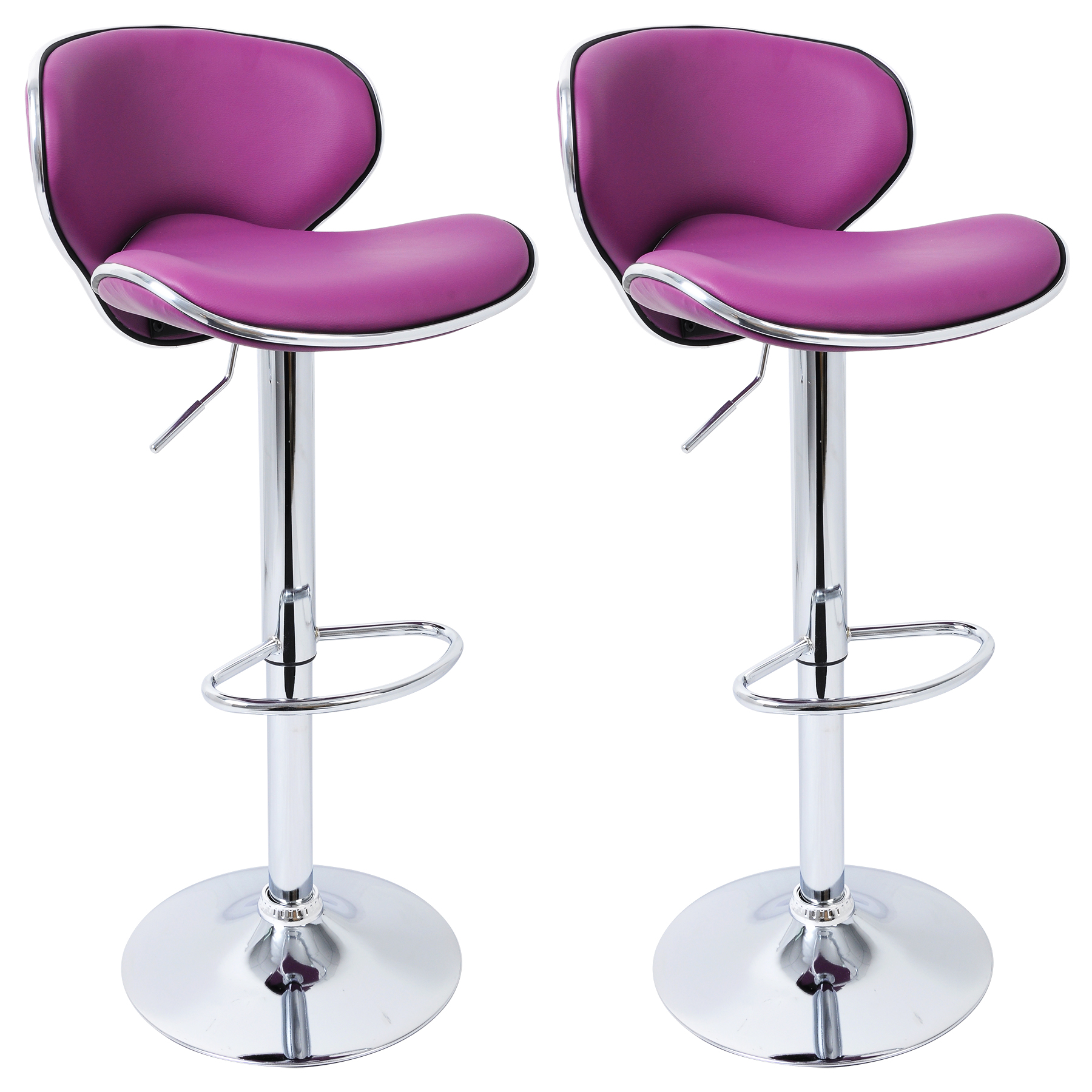 2 X Bar Stools Faux Leather Swivel Breakfast Kitchen Stool Chairs Purple U048
