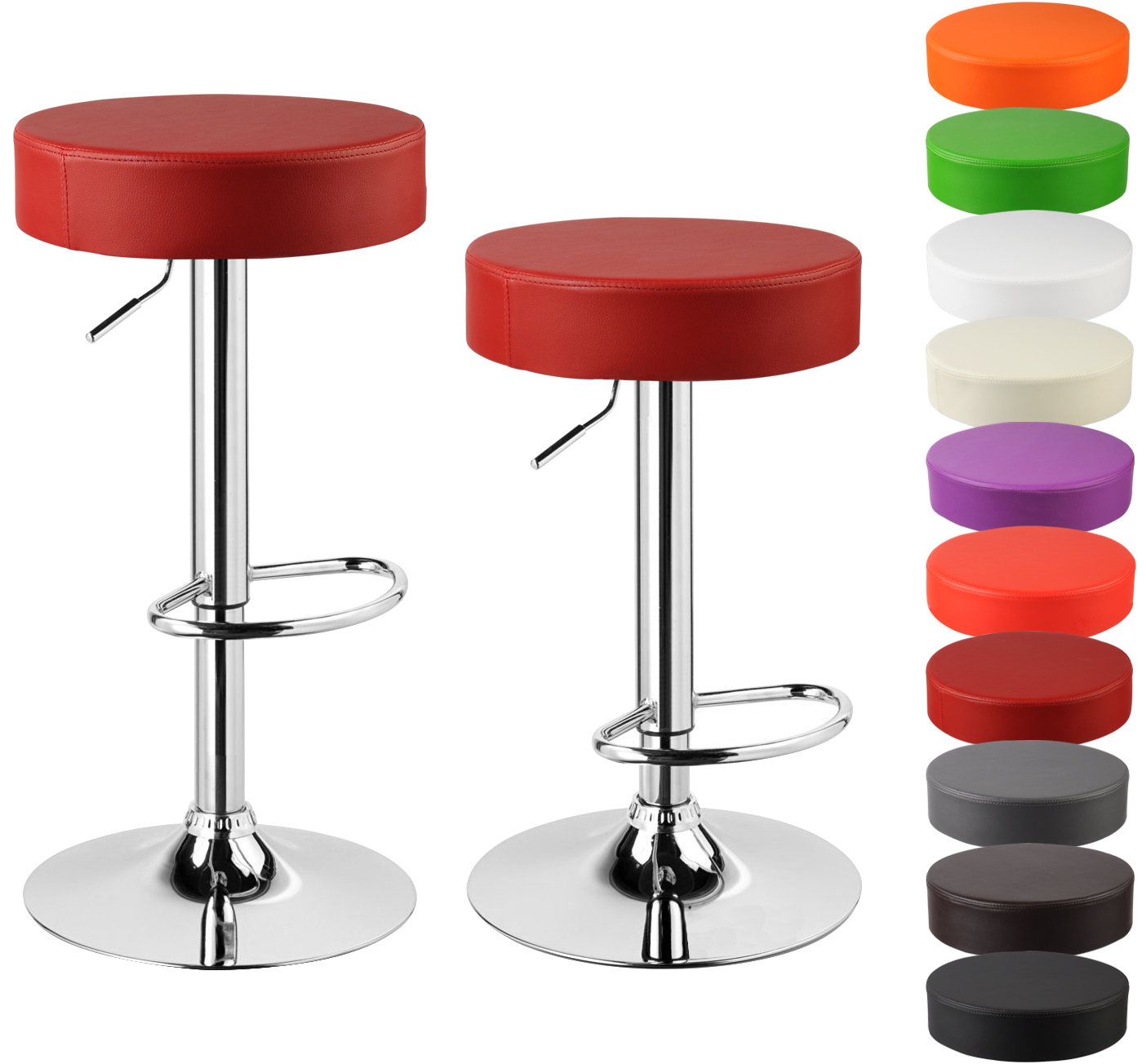 Faux Leather Bar Stools Set Of 2 Kitchen Breakfast Chrome
