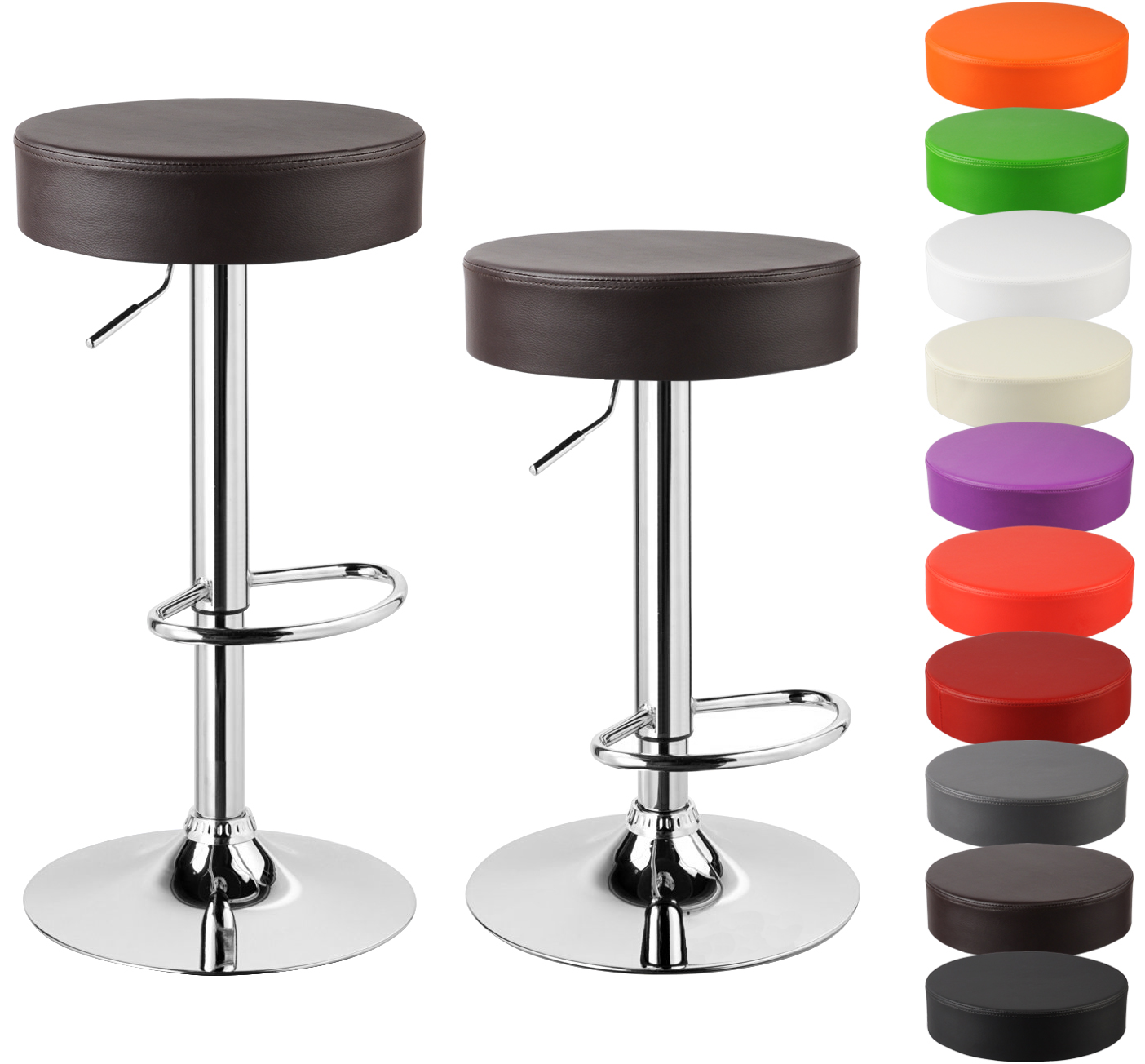 Faux Leather Bar Stools Set Of 2 Kitchen Breakfast Chrome Stools Chair U018 Ebay