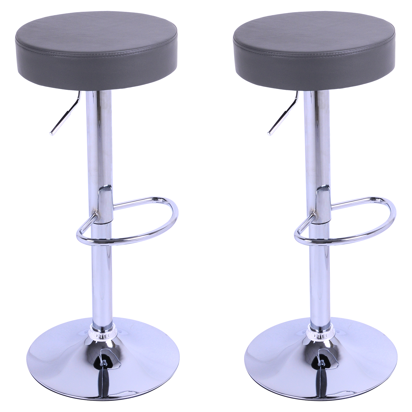 1 2 tabouret de bar en cuir synth tique chaise cuisine en plastique gris f013 ebay. Black Bedroom Furniture Sets. Home Design Ideas