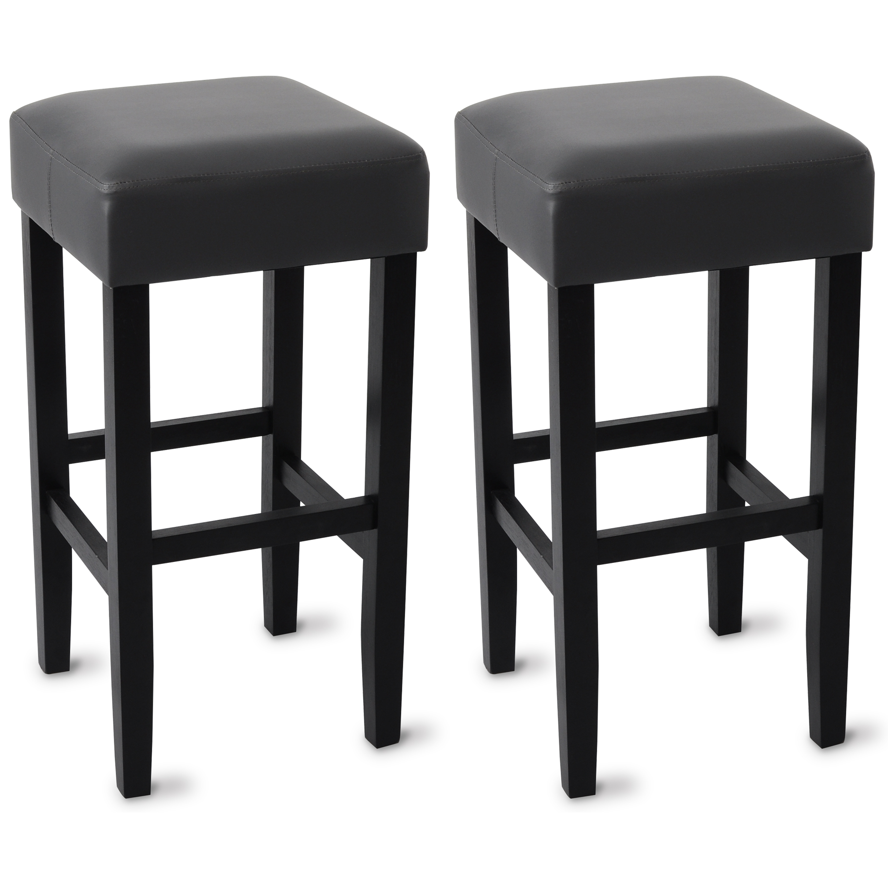 barhocker 2er tresenstuhl gepolstert massivholz kunstleder hocker grau bh22gr 2 ebay. Black Bedroom Furniture Sets. Home Design Ideas
