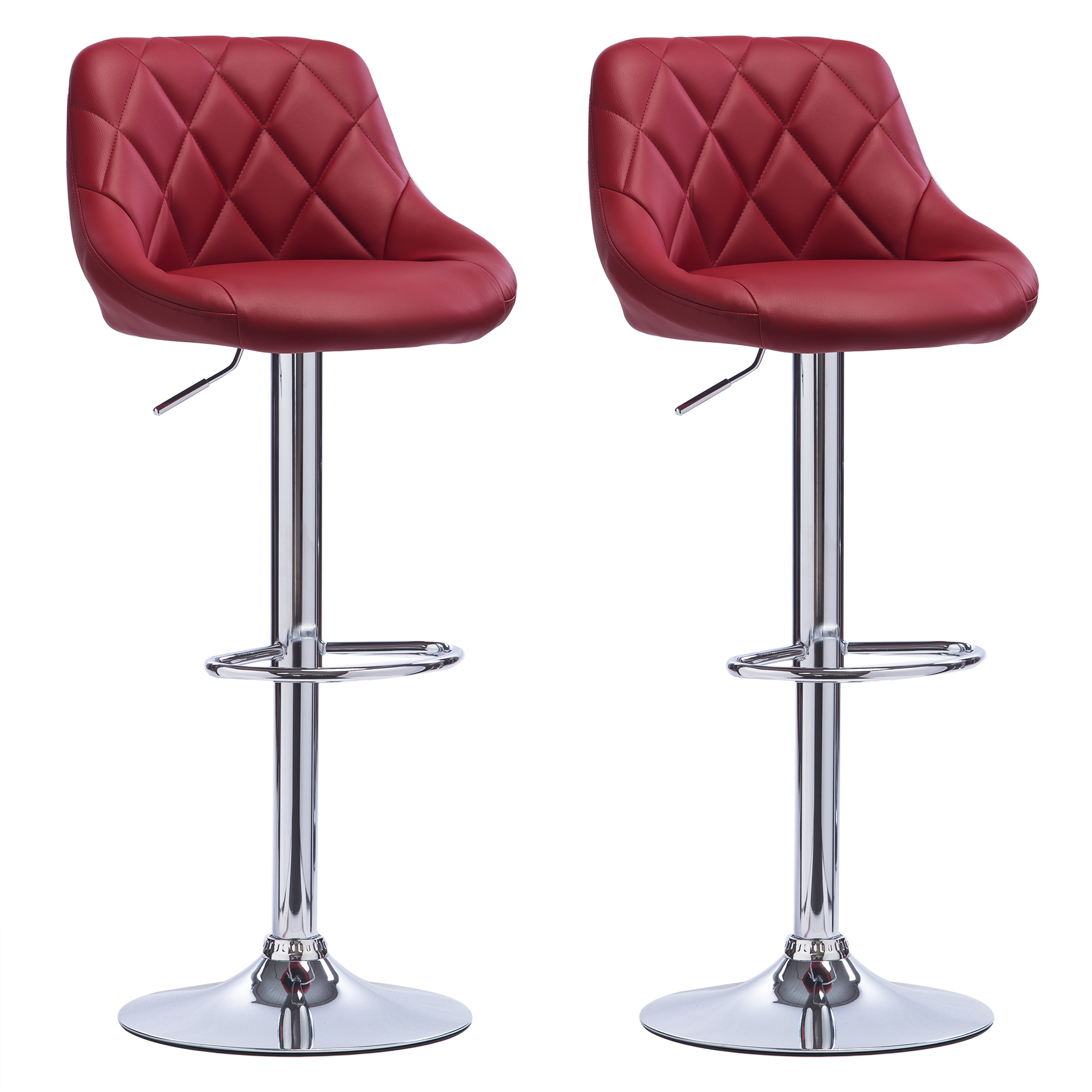 Bar stools faux leather set of 2 kitchen breakfast bar for Kitchen and bar stools