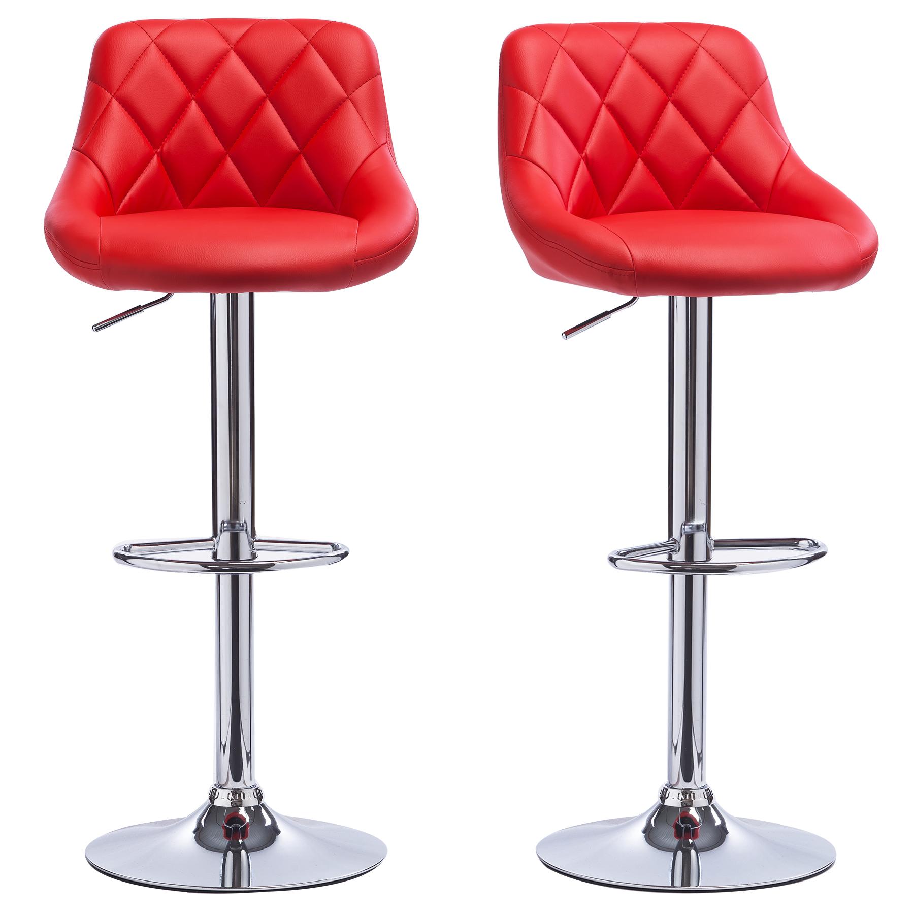 Lot de 2 tabourets de bar avec dossier en pu chaise cuisine r glable f009 ebay - Chaise de bar reglable ...