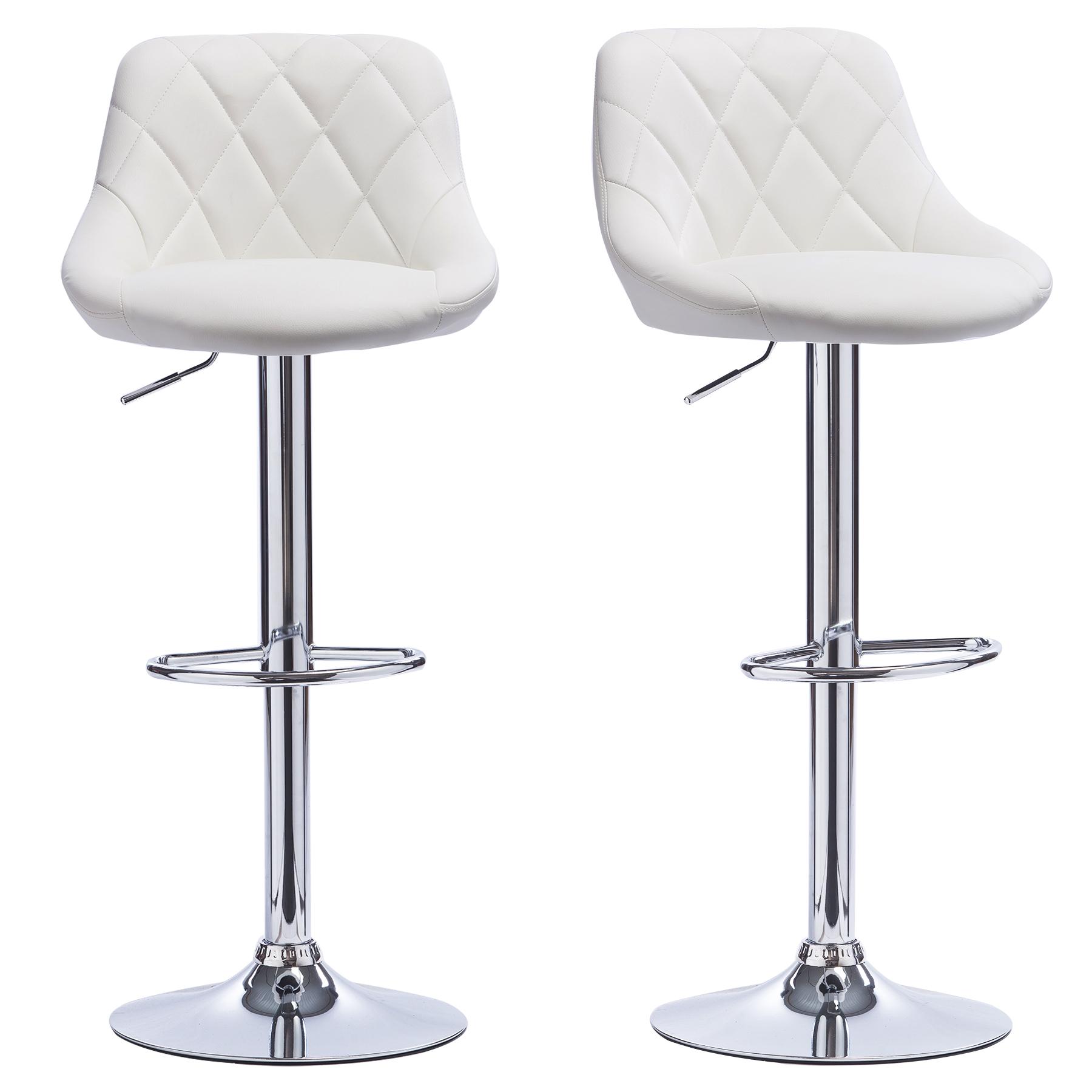 lot de 2 tabourets de bar avec dossier en pu chaise cuisine r glable f009 ebay. Black Bedroom Furniture Sets. Home Design Ideas