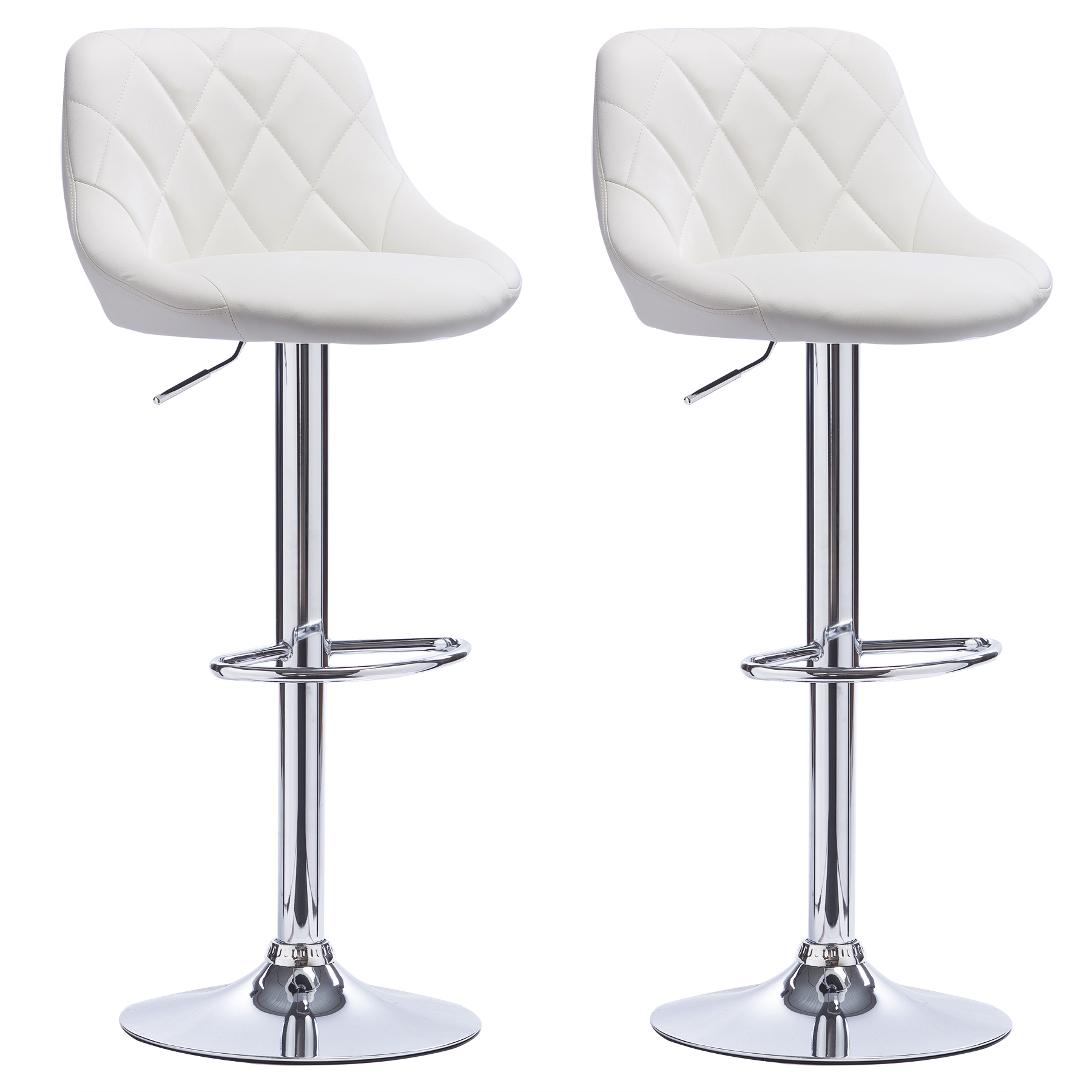 1 2 x bar stools faux leather kitchen chrome stool breakfast chair white u012 ebay. Black Bedroom Furniture Sets. Home Design Ideas