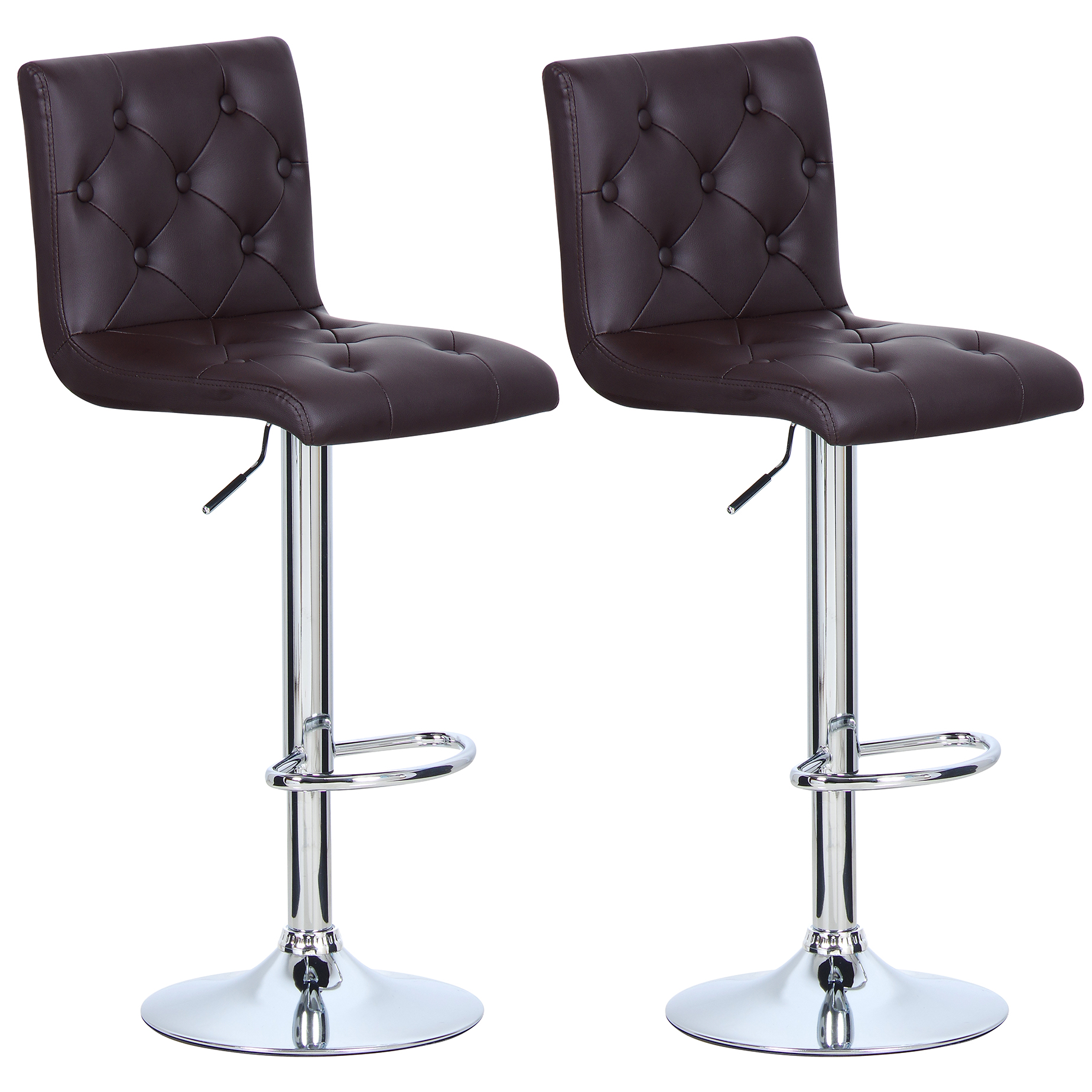 1 2 tabouret de bar en cuir synth tique chaise cuisine en plastique brun f014 ebay. Black Bedroom Furniture Sets. Home Design Ideas