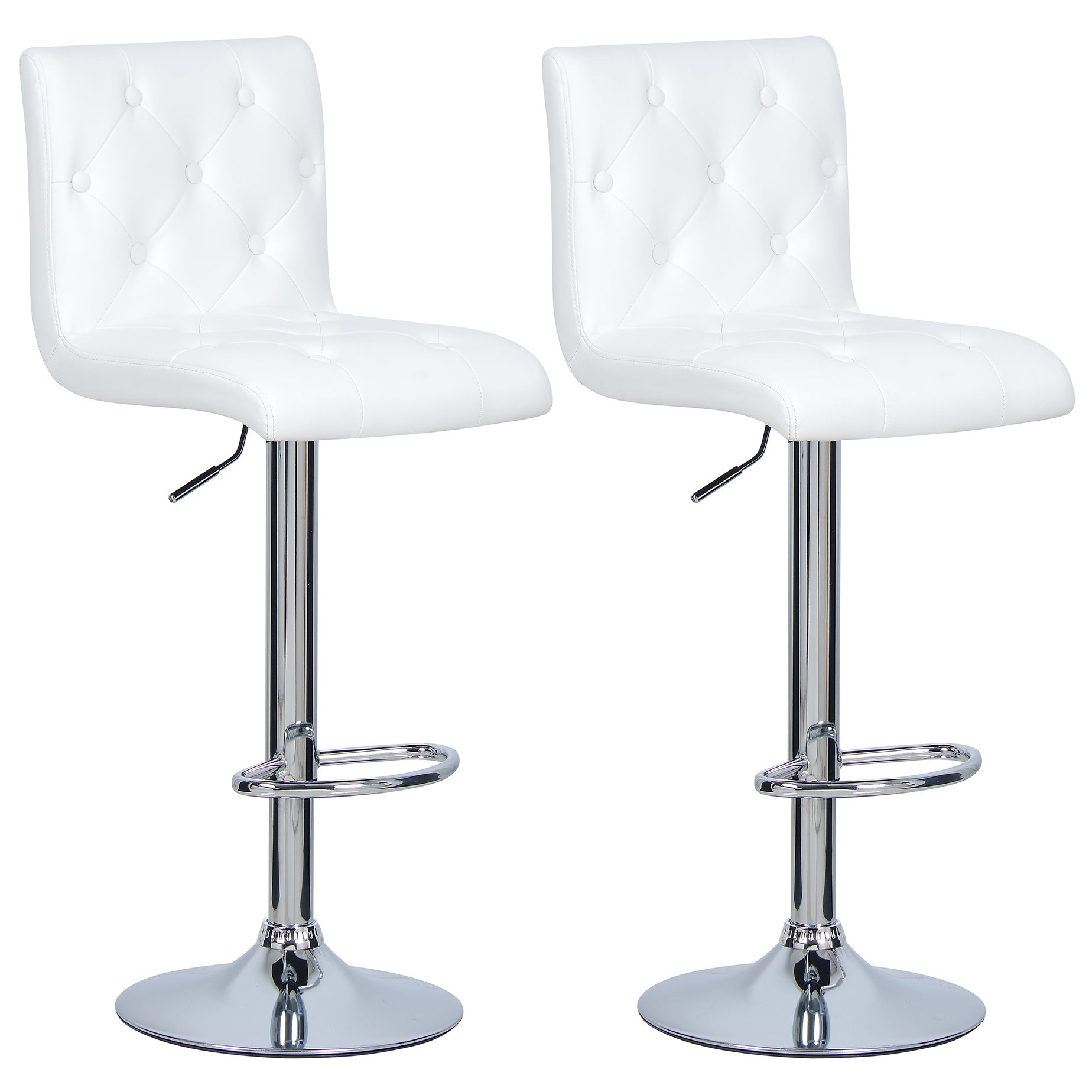 1 2 x tabouret de bar r glable chaise cuisine en pu plastique blanc f012 ebay. Black Bedroom Furniture Sets. Home Design Ideas