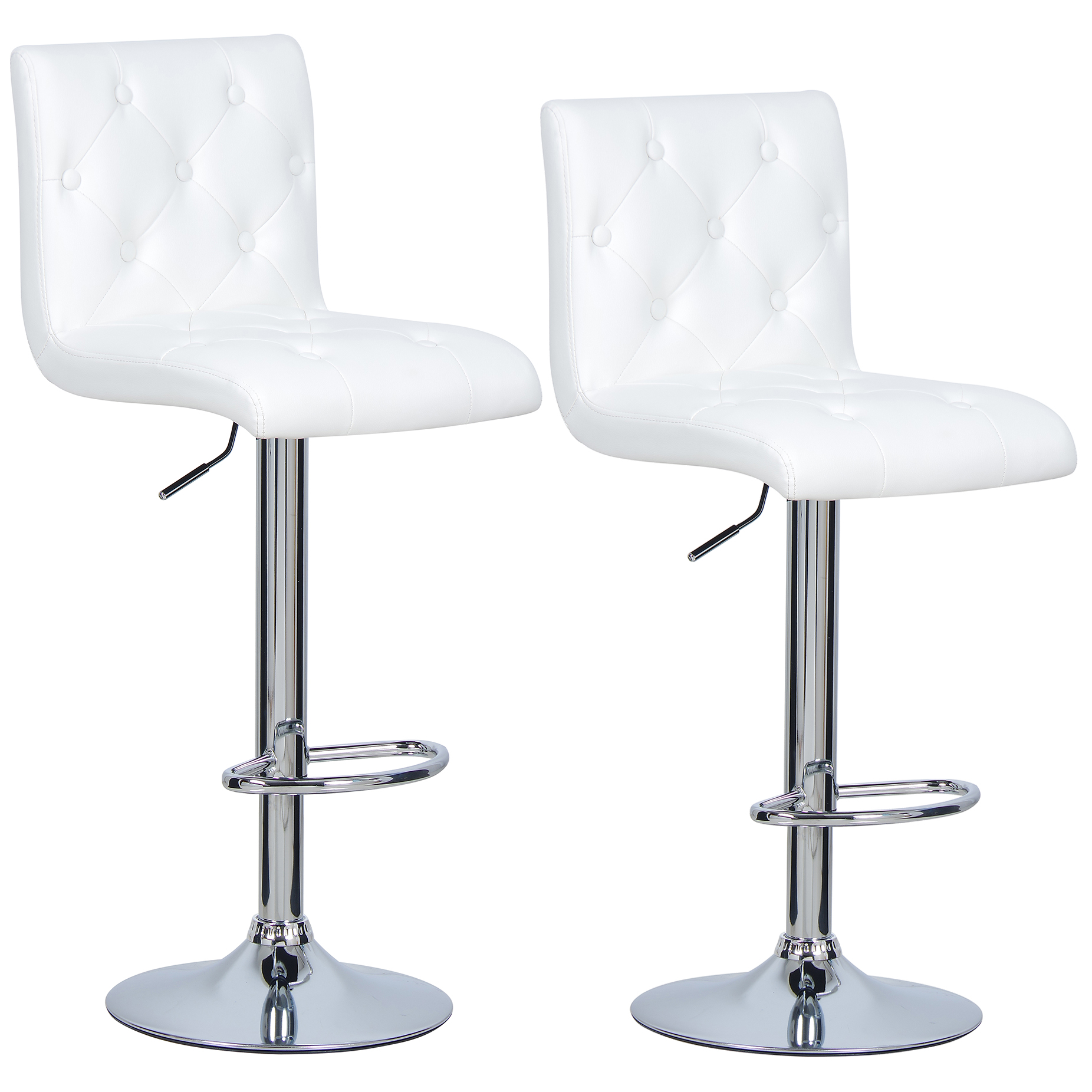 1 2 X Bar Stools Faux Leather Kitchen Chrome Stool Breakfast Chair White U012 Ebay