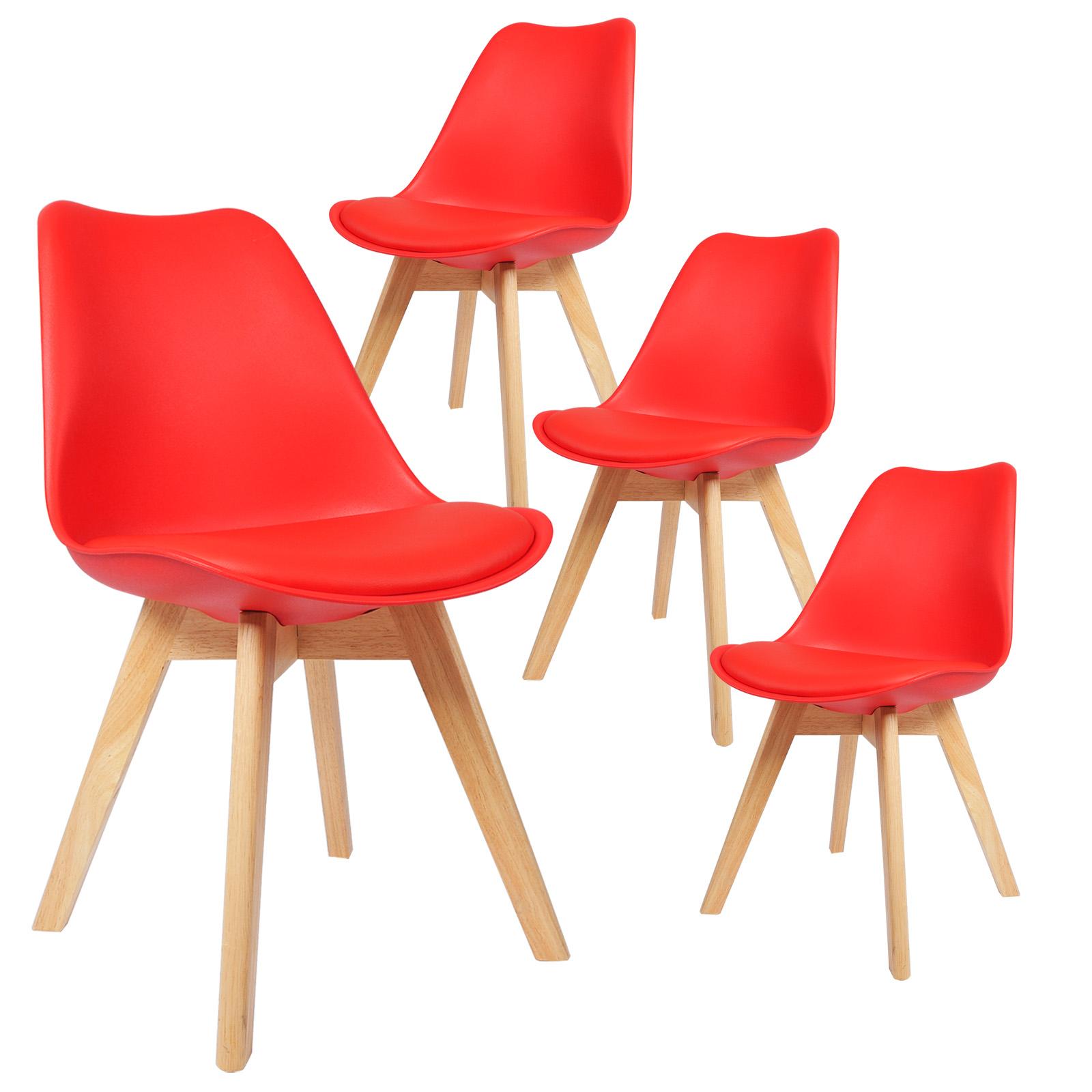 4 x esszimmerst hle esszimmerstuhl polsterstuhl holz kunstleder rot bh29rt 4 ebay. Black Bedroom Furniture Sets. Home Design Ideas