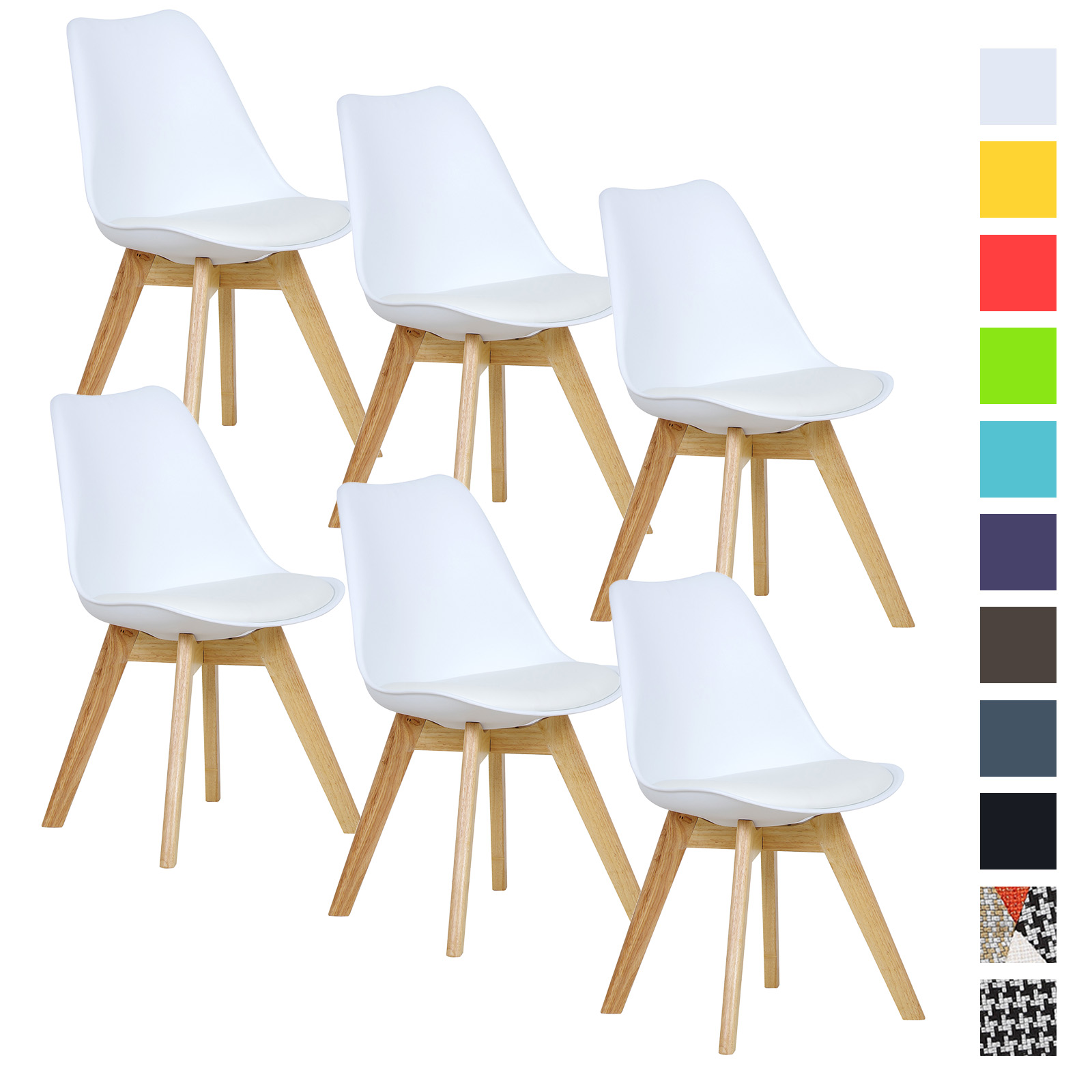 6er set esszimmerst hle esszimmerstuhl design st hle k chenstuhl wei bh29ws 6 ebay. Black Bedroom Furniture Sets. Home Design Ideas