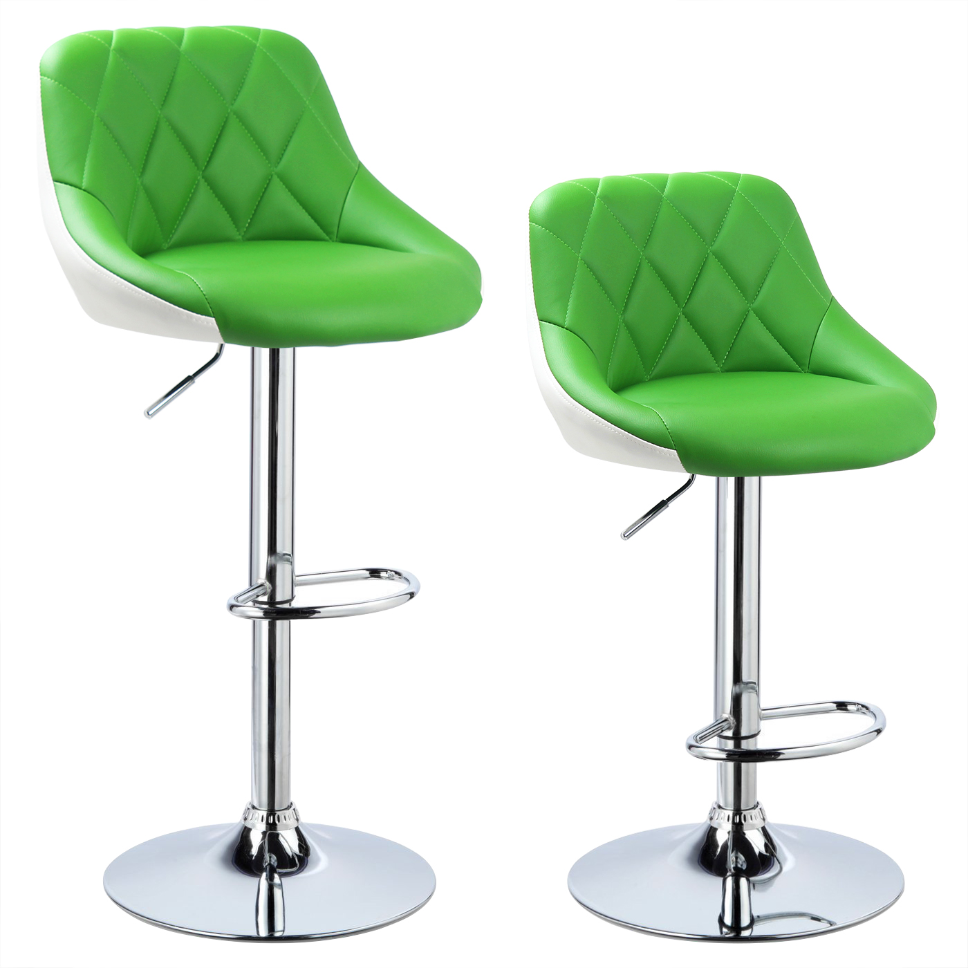 2 X Bar Stools Faux Leather Breakfast Kitchen Swivel Stool Chair
