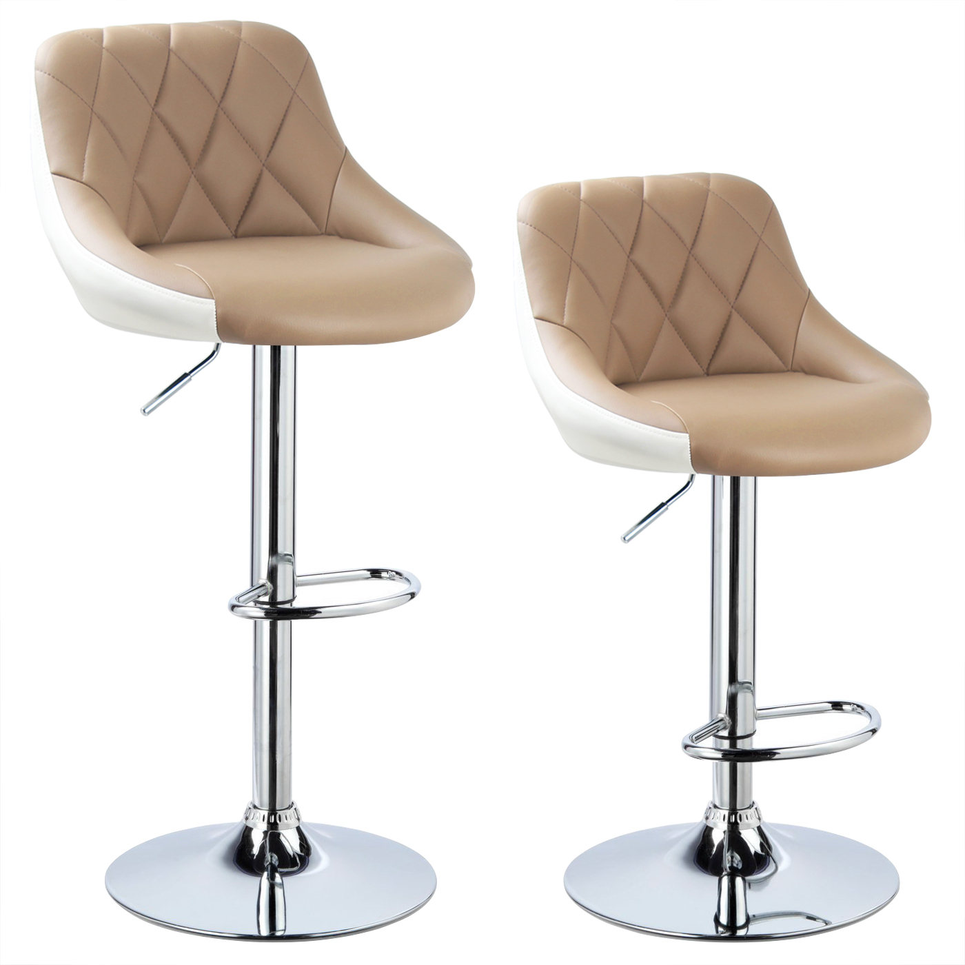 2 X Bar Stools Faux Leather Breakfast Kitchen Swivel Stool Chair With Back U030 Ebay