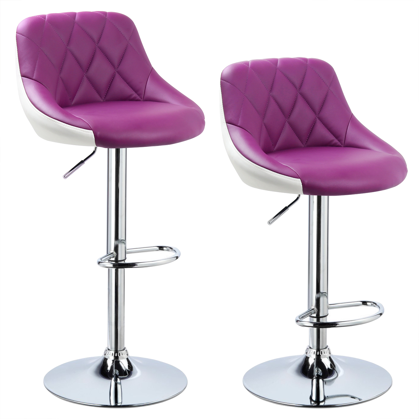 2 x bar stools faux leather breakfast kitchen swivel stool chair with back u030 ebay. Black Bedroom Furniture Sets. Home Design Ideas