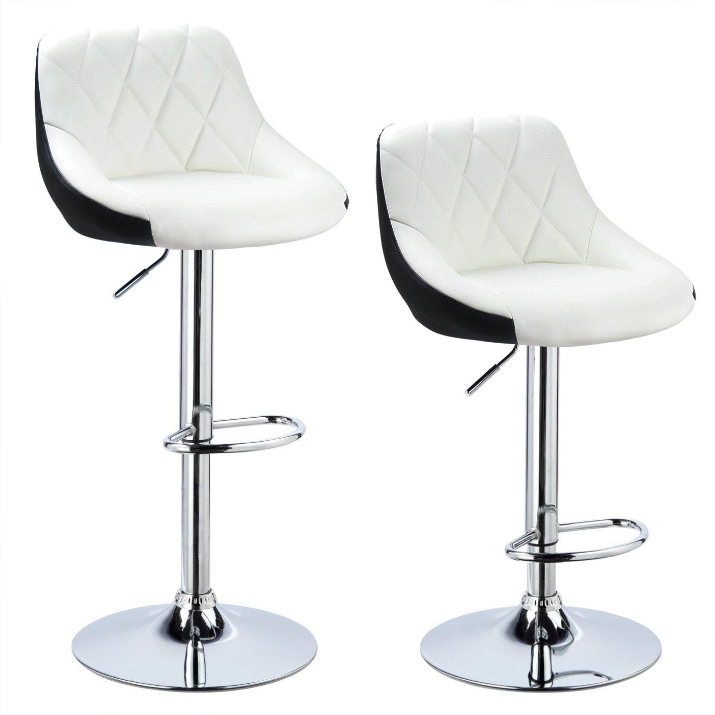 2 X Bar Stools Faux Leather Breakfast Kitchen Swivel Stool Chair ...
