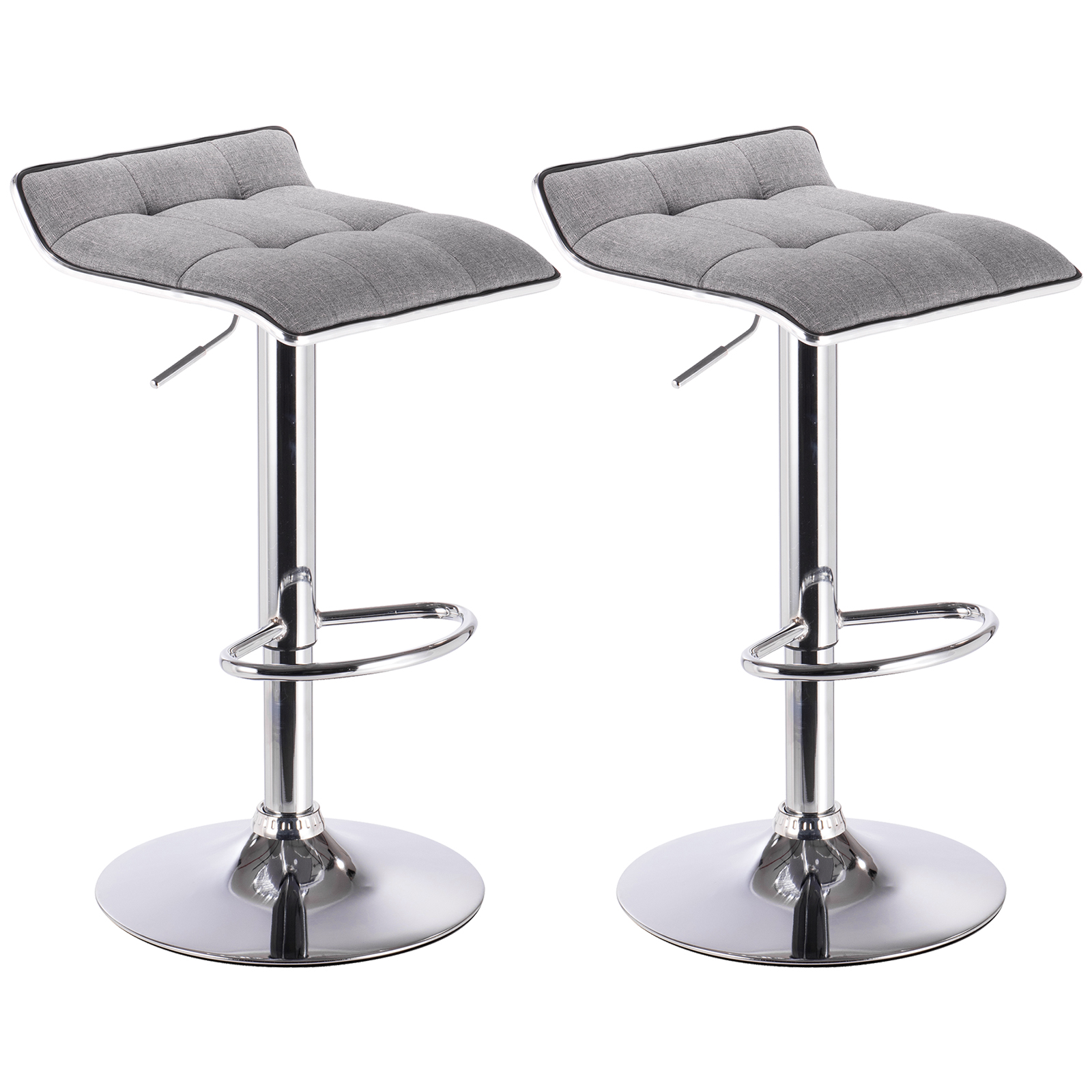 Bar stools set of 2 linen stool kitchen breakfast chair for Kitchen swivel bar stools