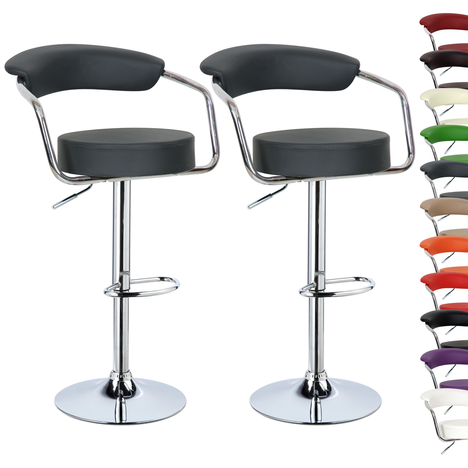 1 2 Pcs Faux Leather Bar Stools Kitchen Breakfast Stool
