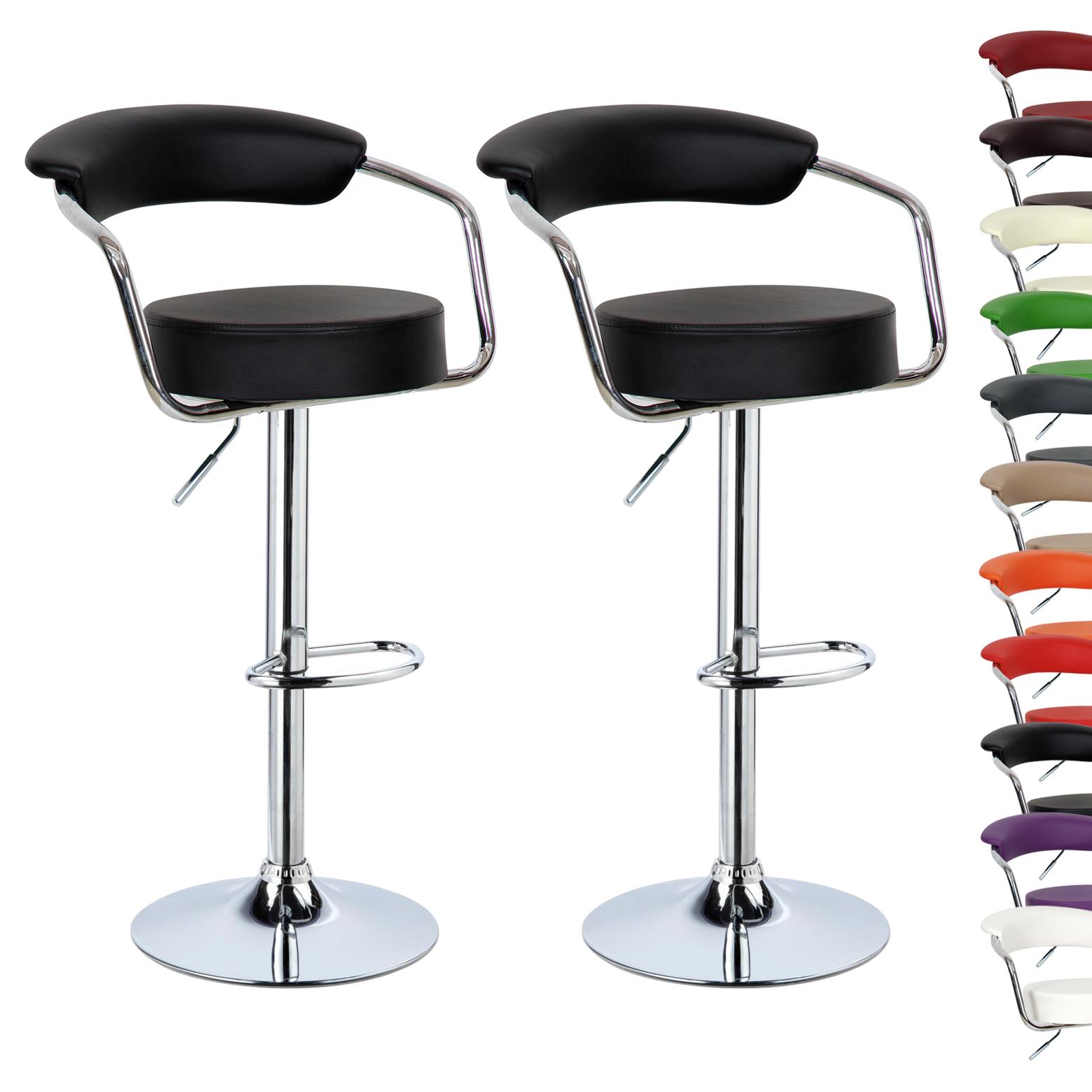 2 X Bar Stools Kitchen Breakfast Swivel Stool Chair Adjustable Faux Leather U052 Ebay