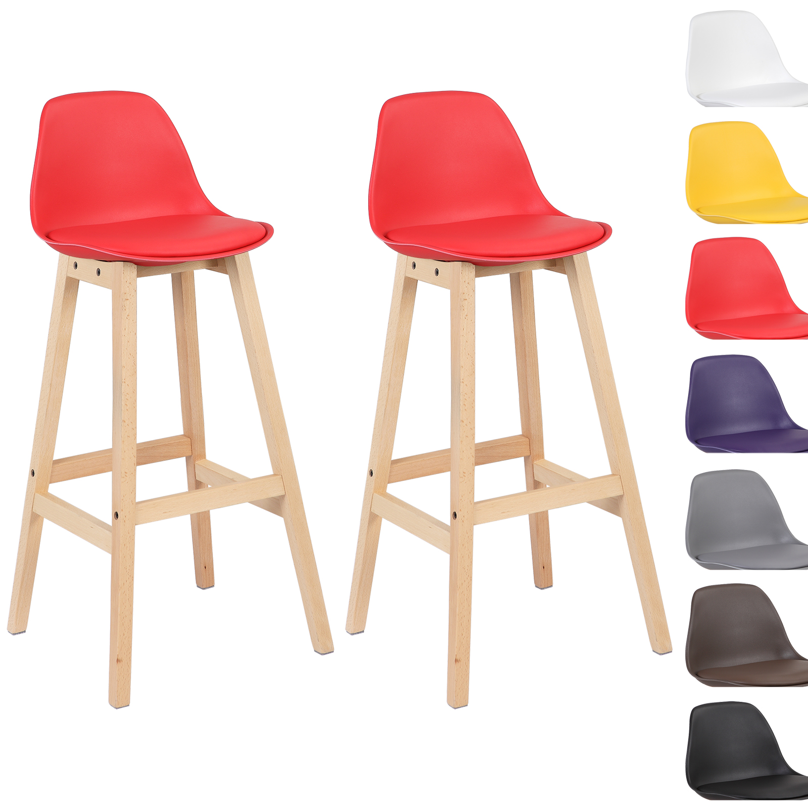 lot de 2 tabouret de bar en plastique tabouret de cuisine en bois f086 ebay. Black Bedroom Furniture Sets. Home Design Ideas
