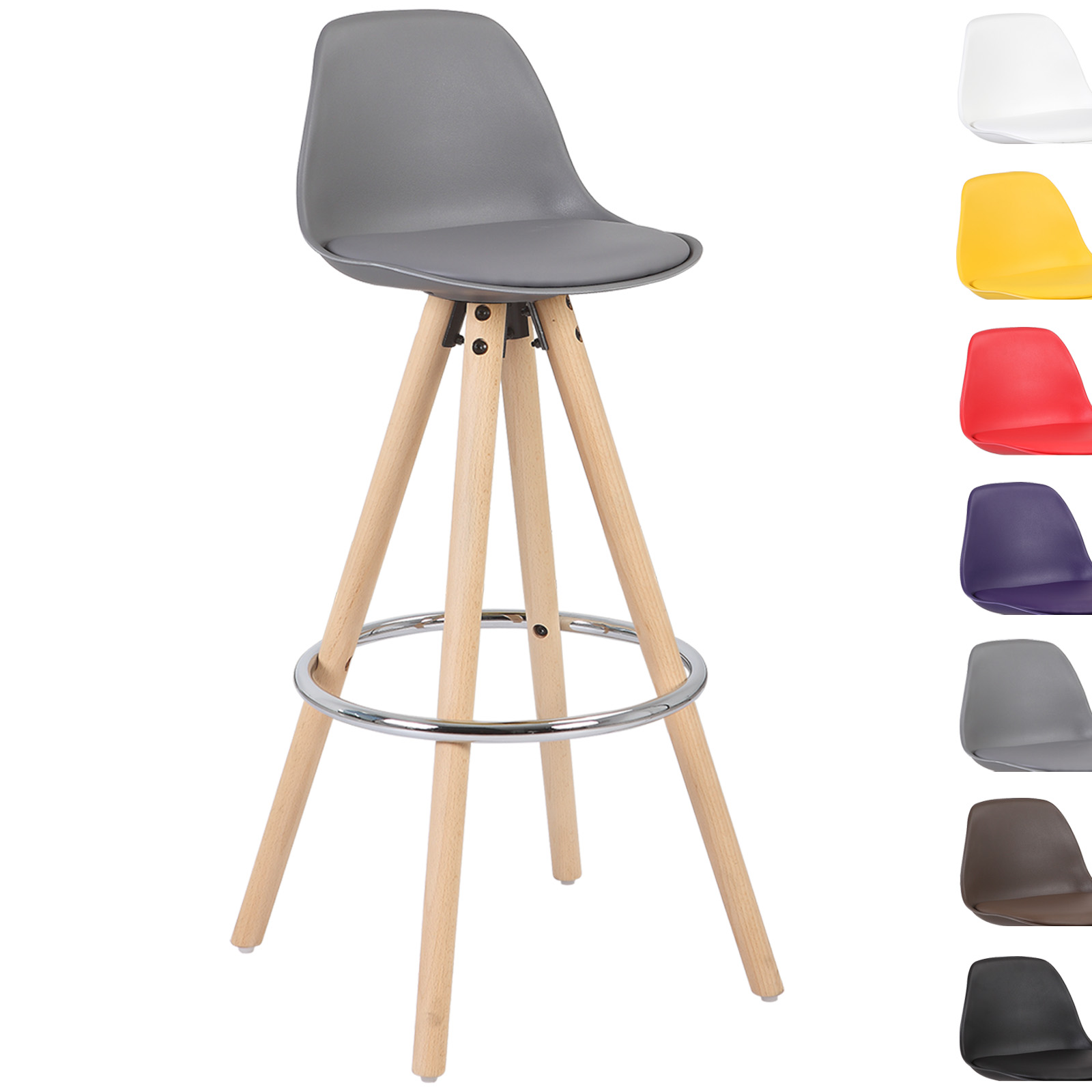 1xtabouret de bar en plastique lin si ge repose pieds design en bois pied f106 ebay. Black Bedroom Furniture Sets. Home Design Ideas
