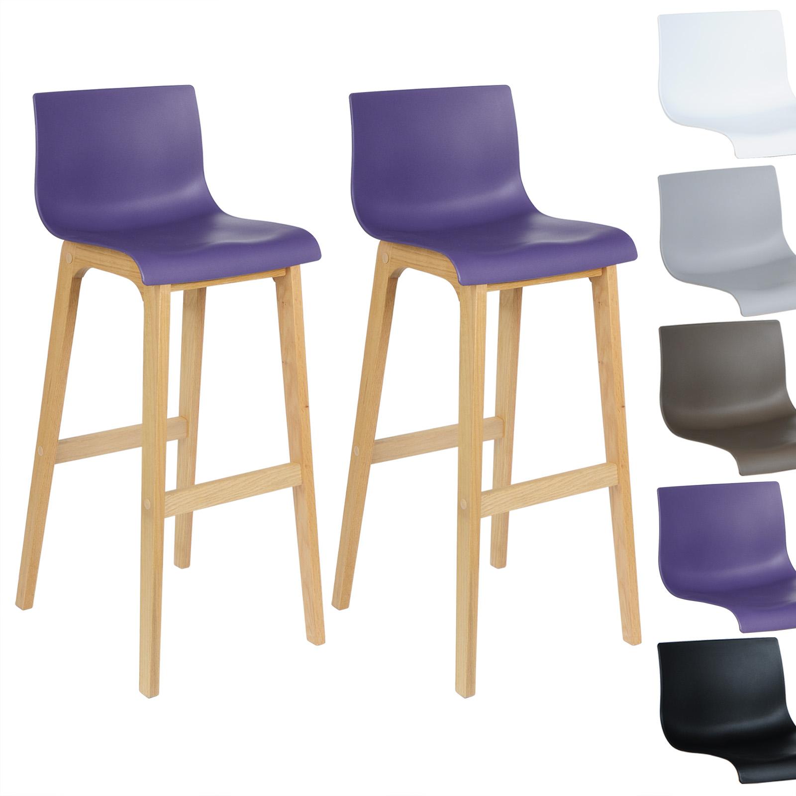 Tabouret de bar lot de 2 en plastique chaise en bois avec