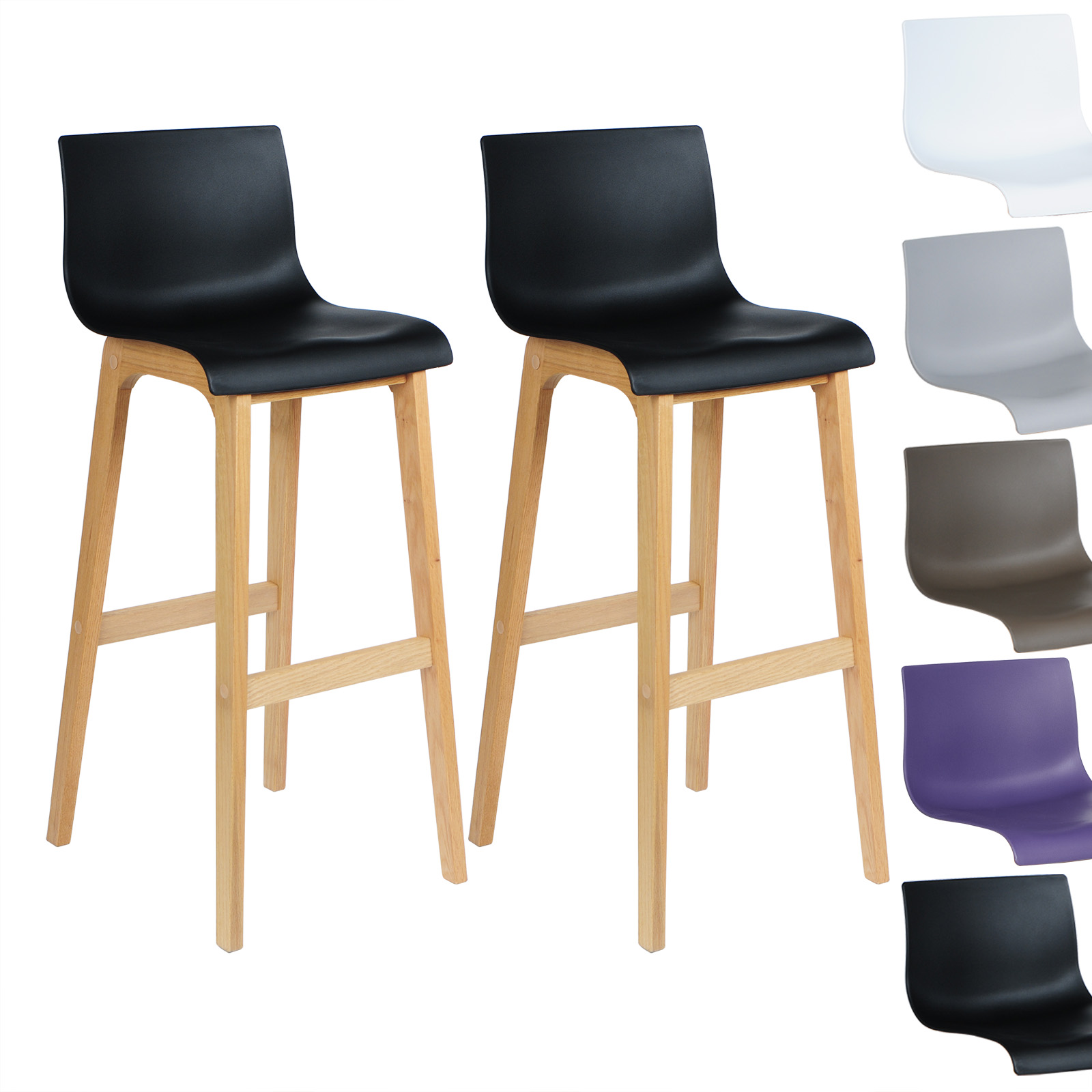 tabouret de bar lot de 2 en plastique chaise en bois avec dossier f090 ebay. Black Bedroom Furniture Sets. Home Design Ideas