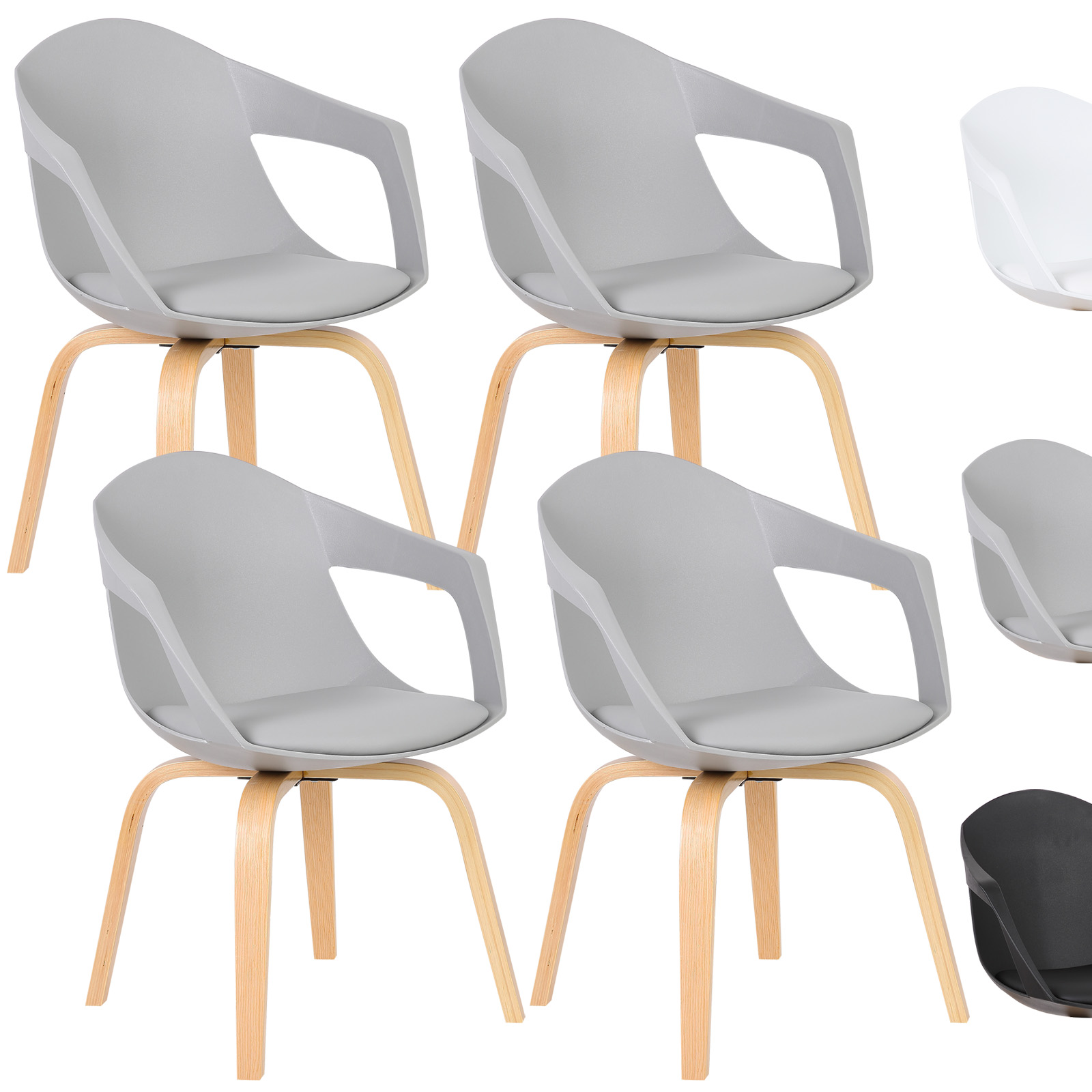 4 x Esszimmerstühle Küchenstuhl mit Armlehne Kunstleder Holz Grau ...
