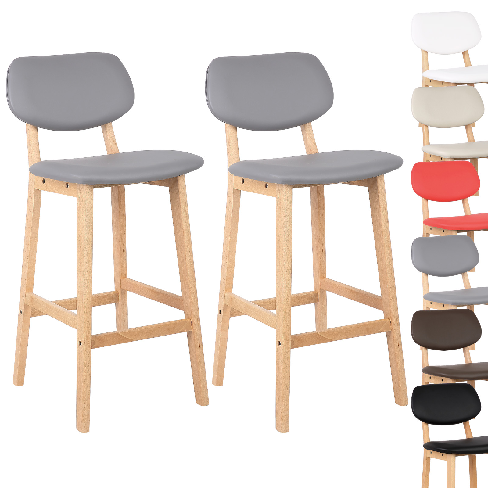 2 x tabouret de bar en cuir artificiel tabourets cuisine design en bois f099 ebay. Black Bedroom Furniture Sets. Home Design Ideas