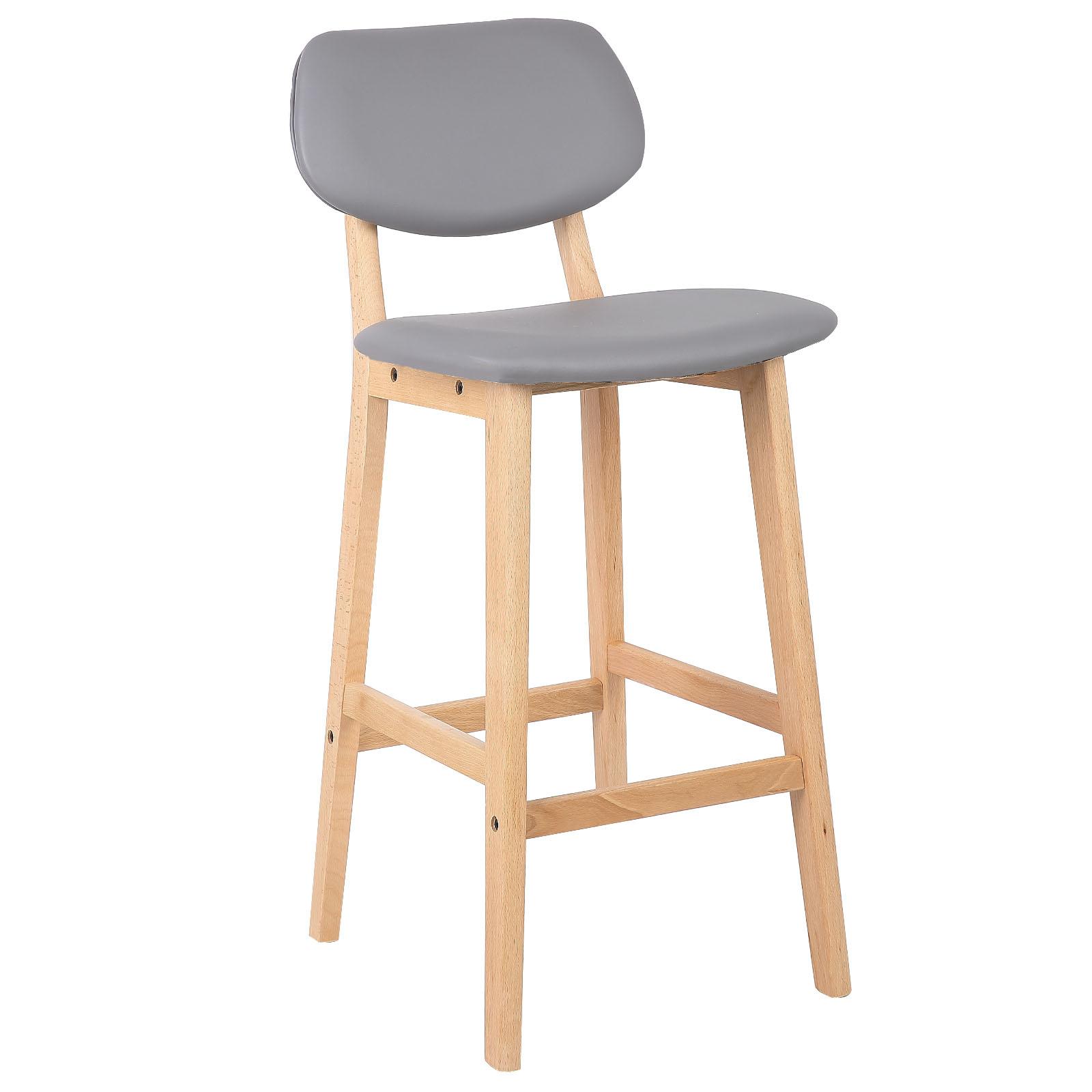2 x barhocker tresenhocker mit r ckenlehne holz kunstleder grau bh51gr 2 ebay. Black Bedroom Furniture Sets. Home Design Ideas