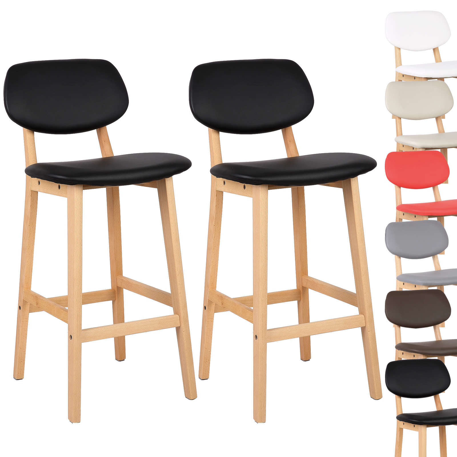 2 x tabouret de bar en cuir artificiel tabourets cuisine. Black Bedroom Furniture Sets. Home Design Ideas