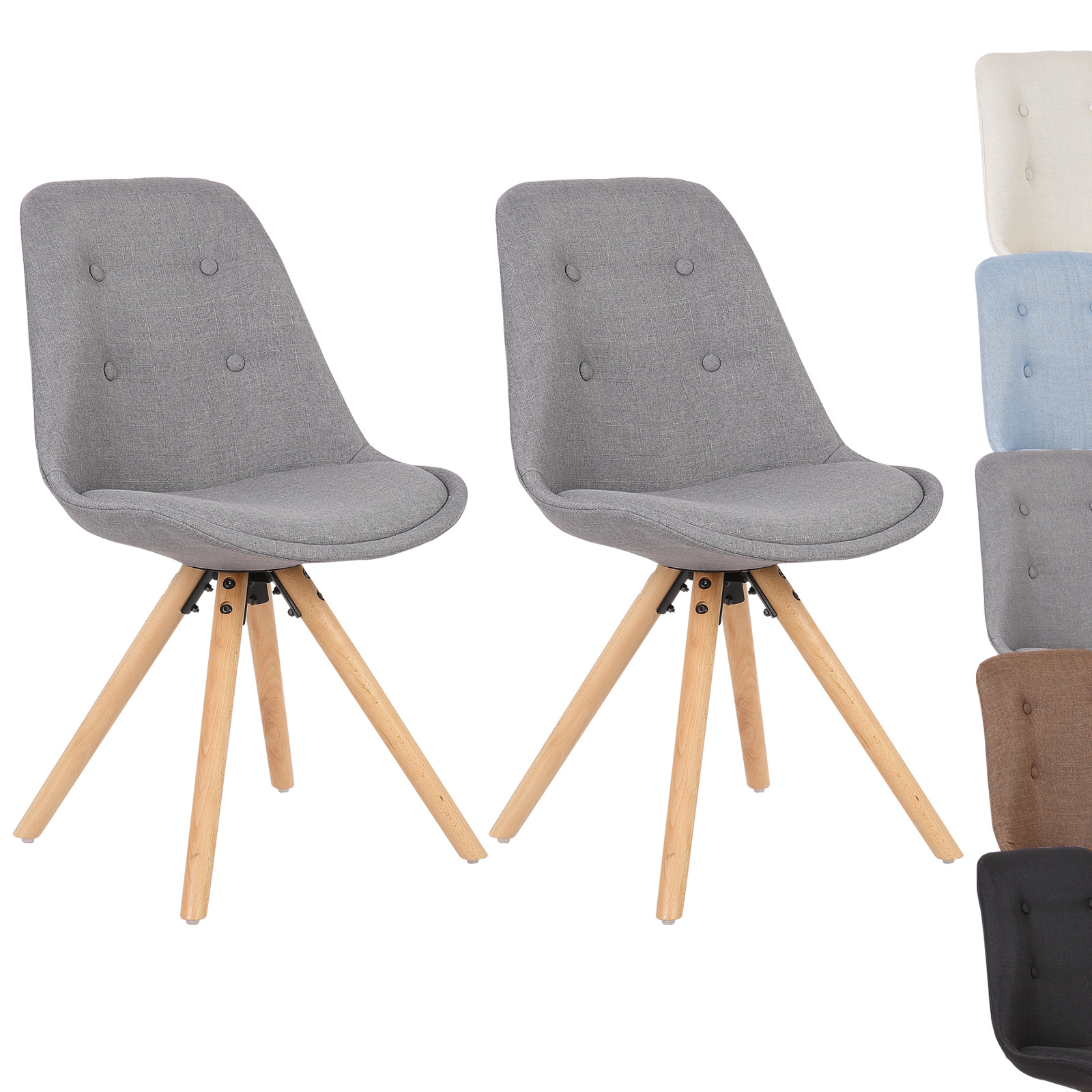 2er set esszimmerst hle k chenstuhl design stuhl leinen holz bh54gr 2 grau ebay. Black Bedroom Furniture Sets. Home Design Ideas
