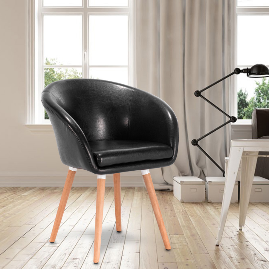 Modern eames dining chair stool linen leather back armrest for Leather eames dining chair