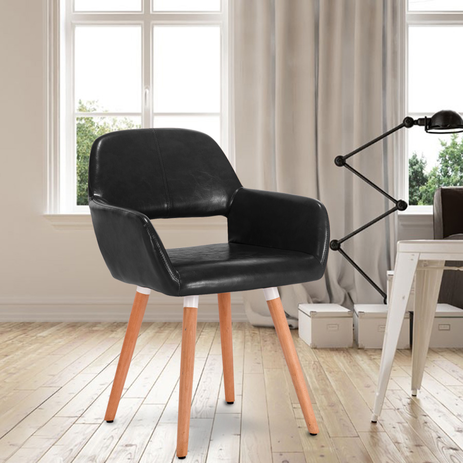 High Backed Kitchen Chairs: Modern Eames Kitchen Dining Chair Stool Black Gray Leather