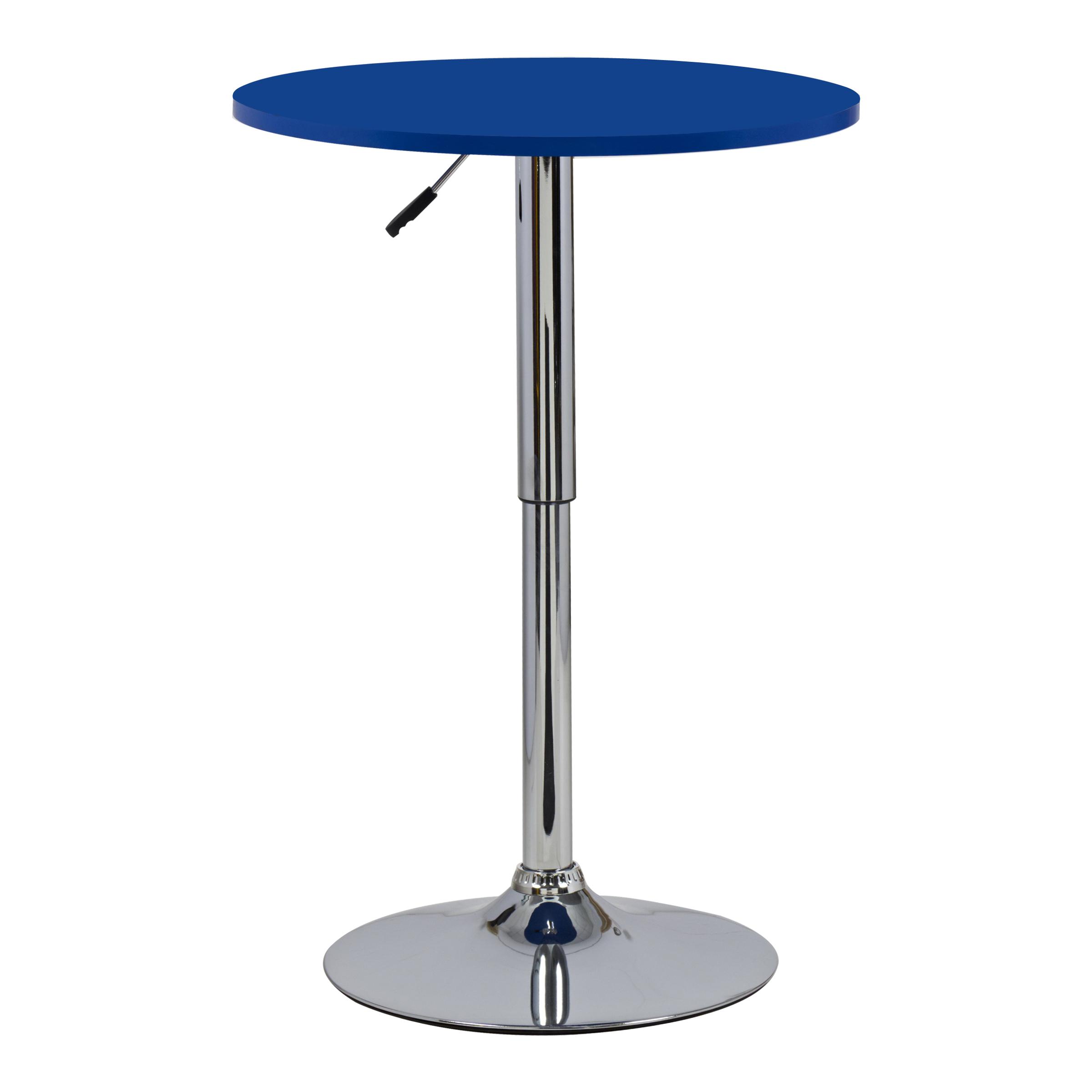 1 Table de bar en MDF robuste et acier chromé réglable cuisine table ronde f054