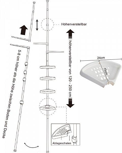 badregal teleskop regal eckregal duschregal ablagen duschablage duschecke 218 ebay. Black Bedroom Furniture Sets. Home Design Ideas