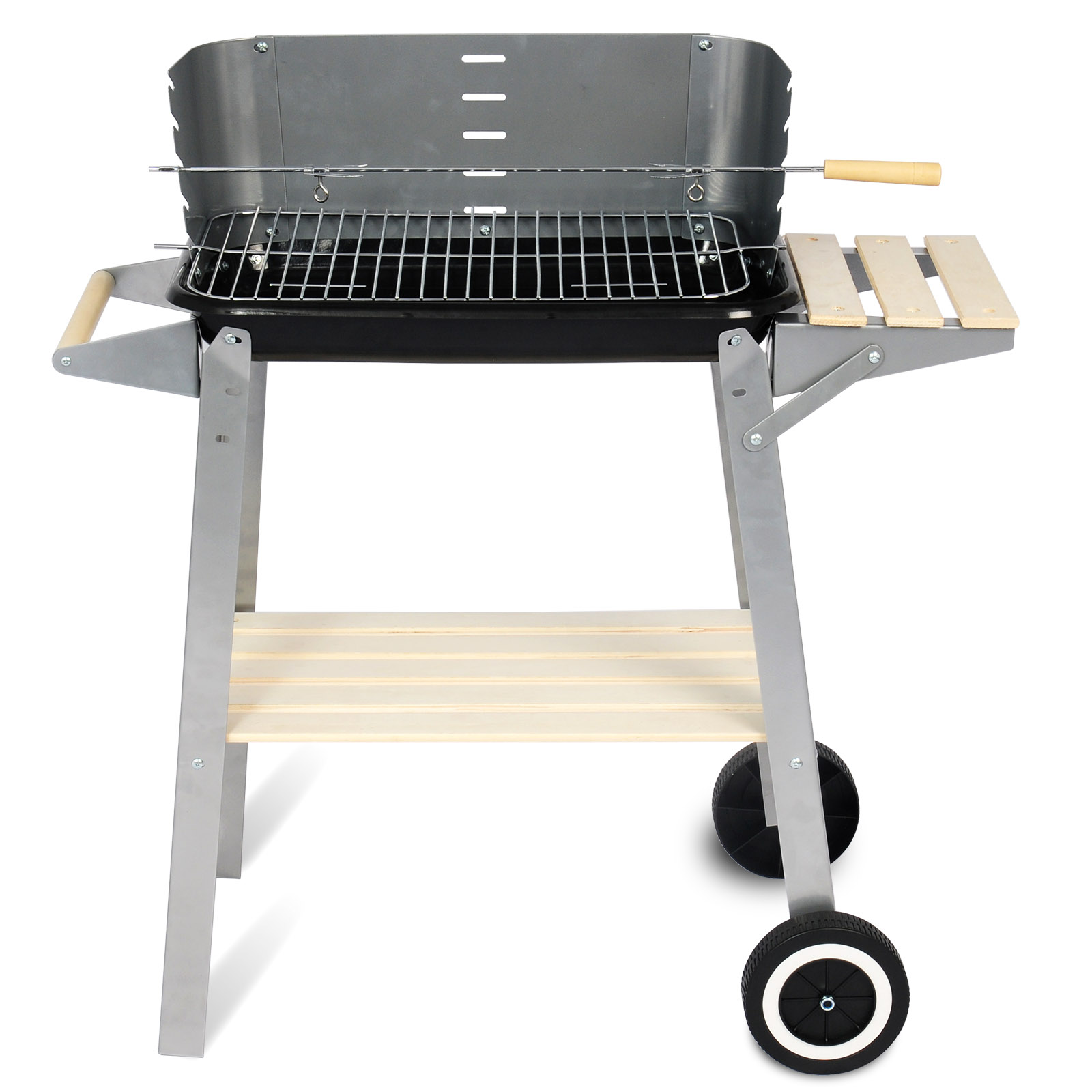 holzkohlegrill bbq grillwagen mit r dern ablage fahrbar gartengrill cpz8116sz ebay. Black Bedroom Furniture Sets. Home Design Ideas