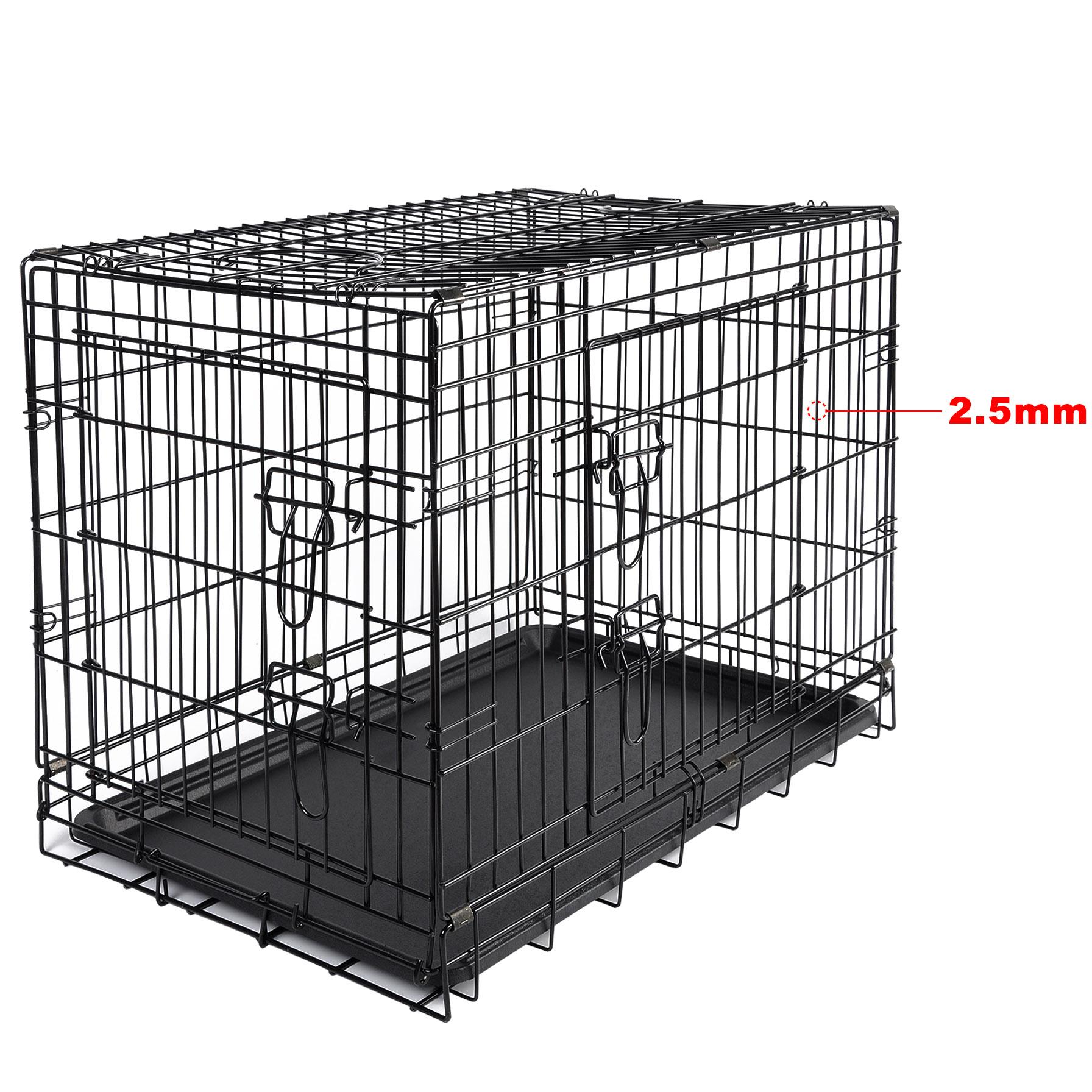 cage de chien pliable avec 2 portes cage de transport de. Black Bedroom Furniture Sets. Home Design Ideas